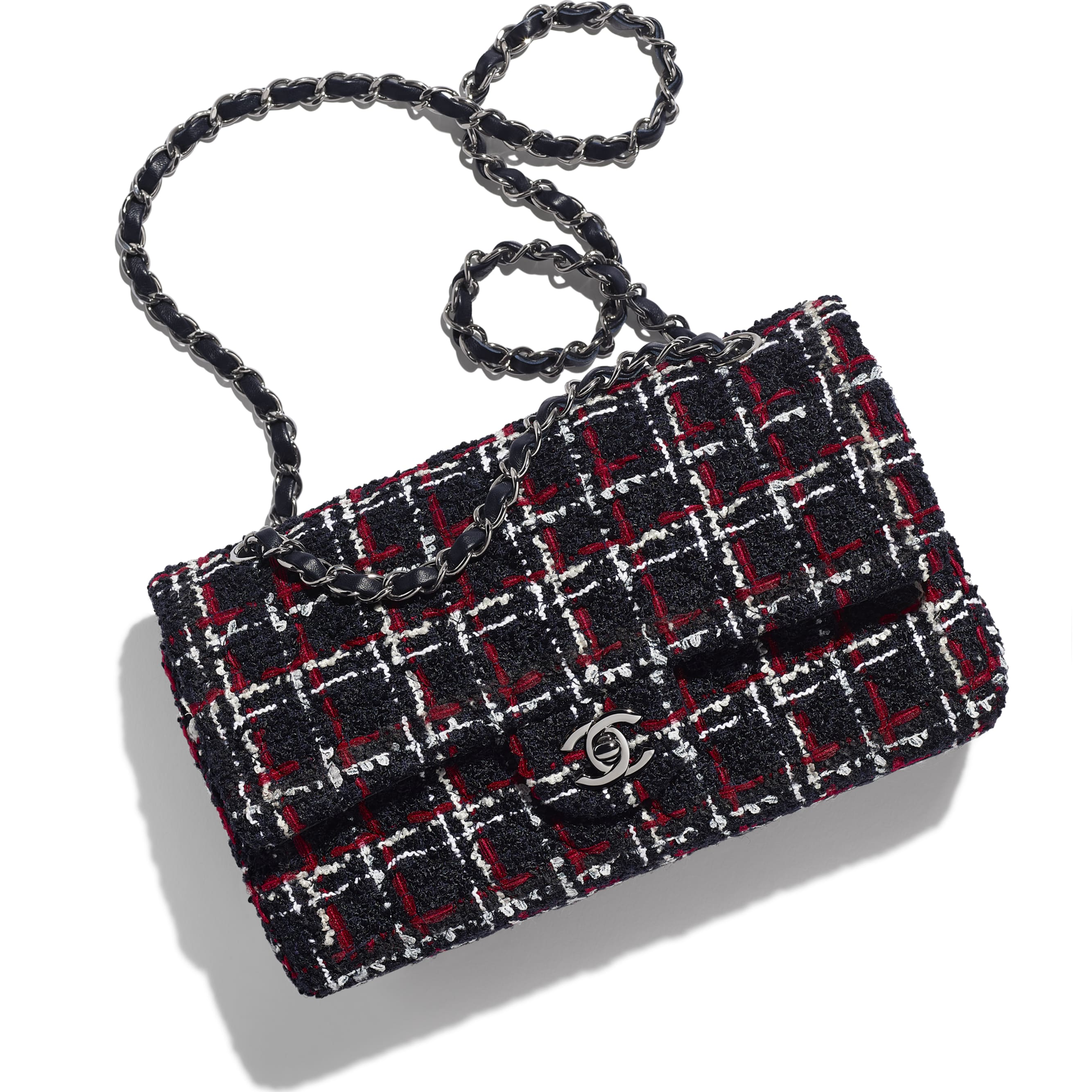 Classic Handbag - Navy Blue, White & Red - Tweed & Ruthenium-Finish Metal - CHANEL - Extra view - see standard sized version