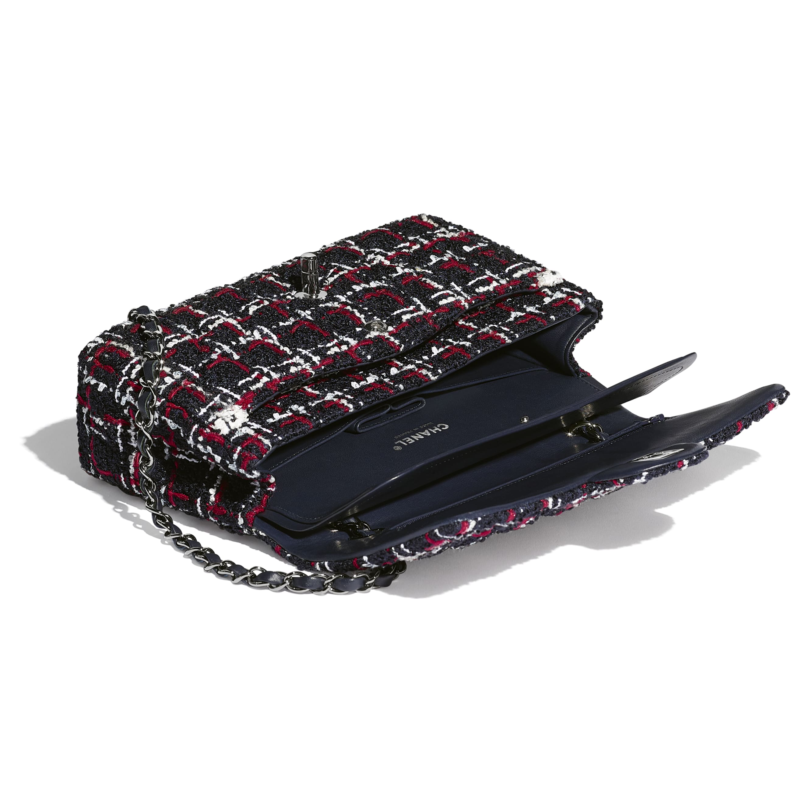 Classic Handbag - Navy Blue, White & Red - Tweed & Ruthenium-Finish Metal - CHANEL - Other view - see standard sized version