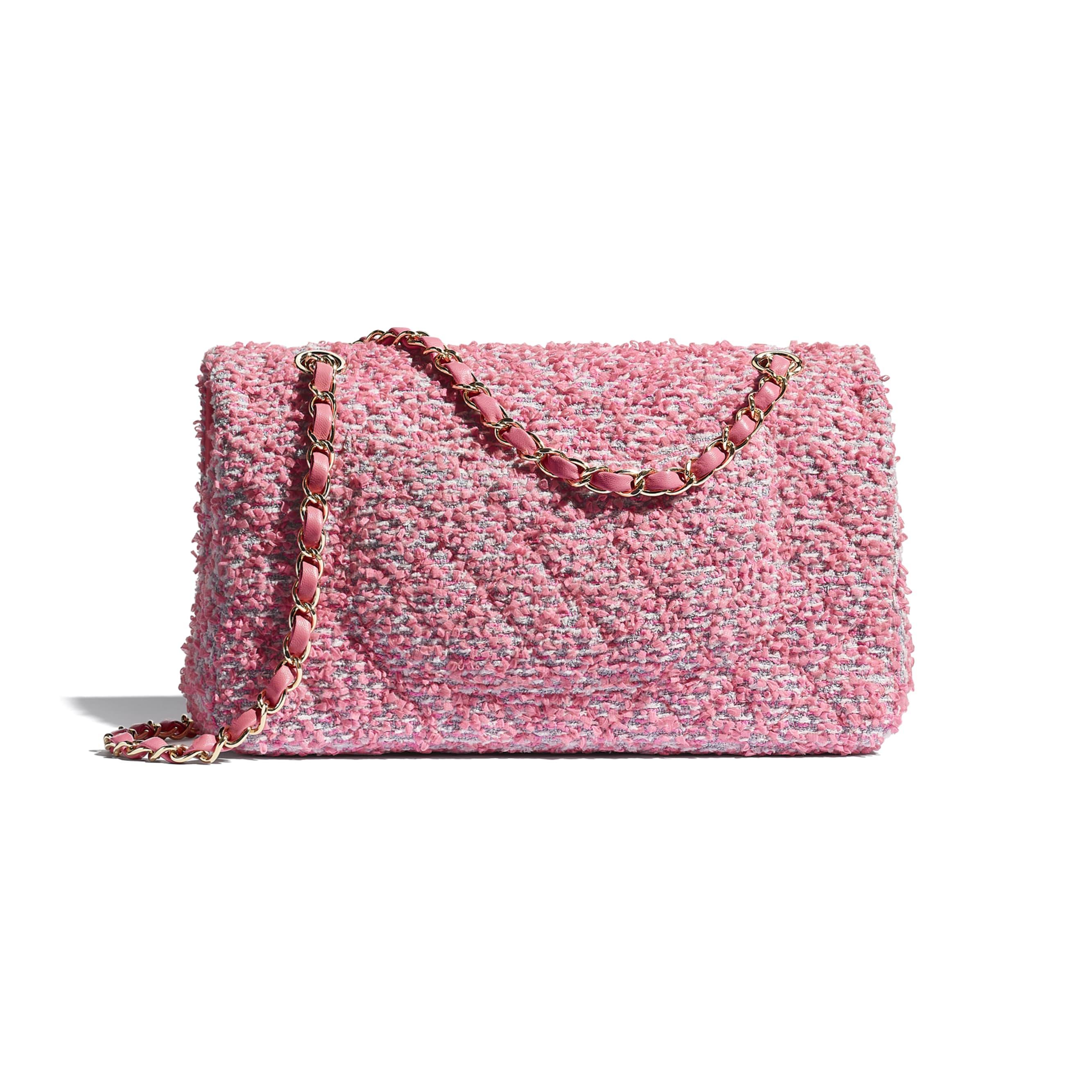 กระเป๋าสะพายคลาสสิก - สีชมพู สีขาว และสีเทา - ผ้าทวีตและโลหะสีทอง - CHANEL - มุมมองทางอื่น - ดูเวอร์ชันขนาดมาตรฐาน