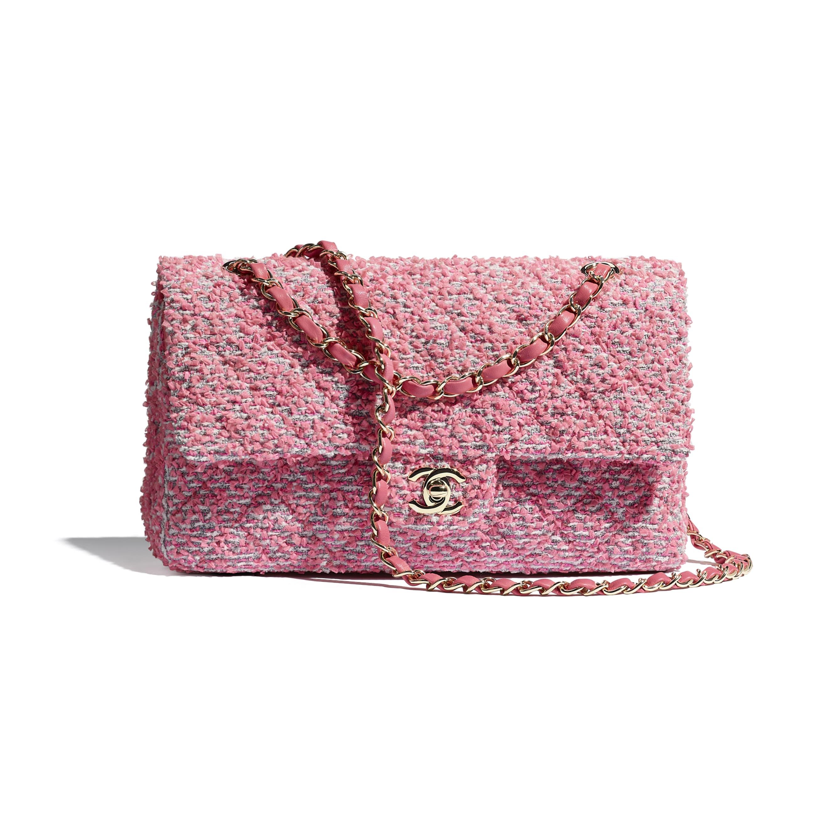 กระเป๋าสะพายคลาสสิก - สีชมพู สีขาว และสีเทา - ผ้าทวีตและโลหะสีทอง - CHANEL - มุมมองปัจจุบัน - ดูเวอร์ชันขนาดมาตรฐาน