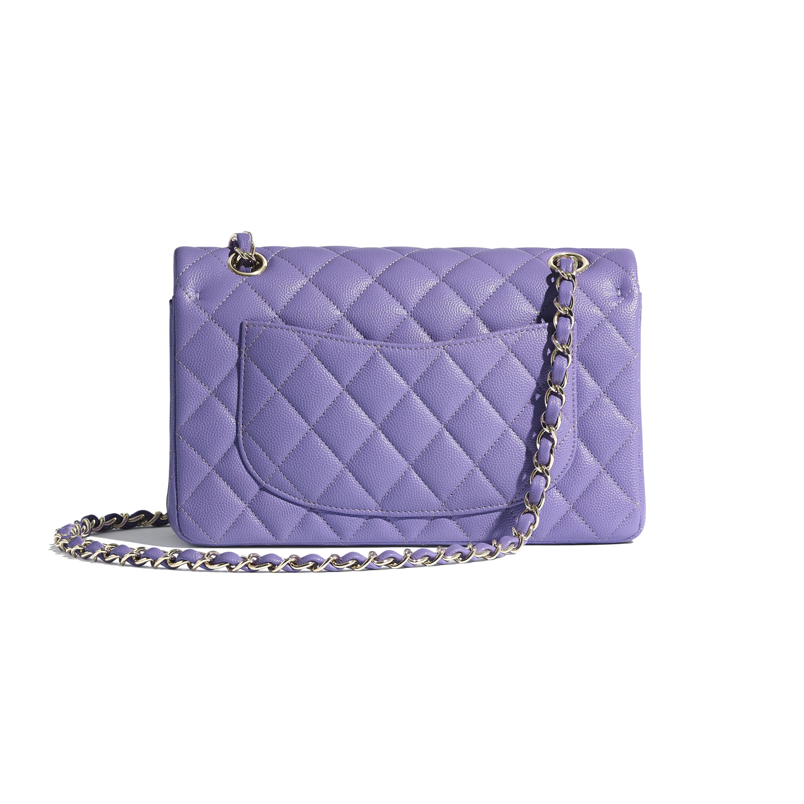 Classic Handbag - Purple - Grained Calfskin & Gold-Tone Metal - Alternative view - see standard sized version