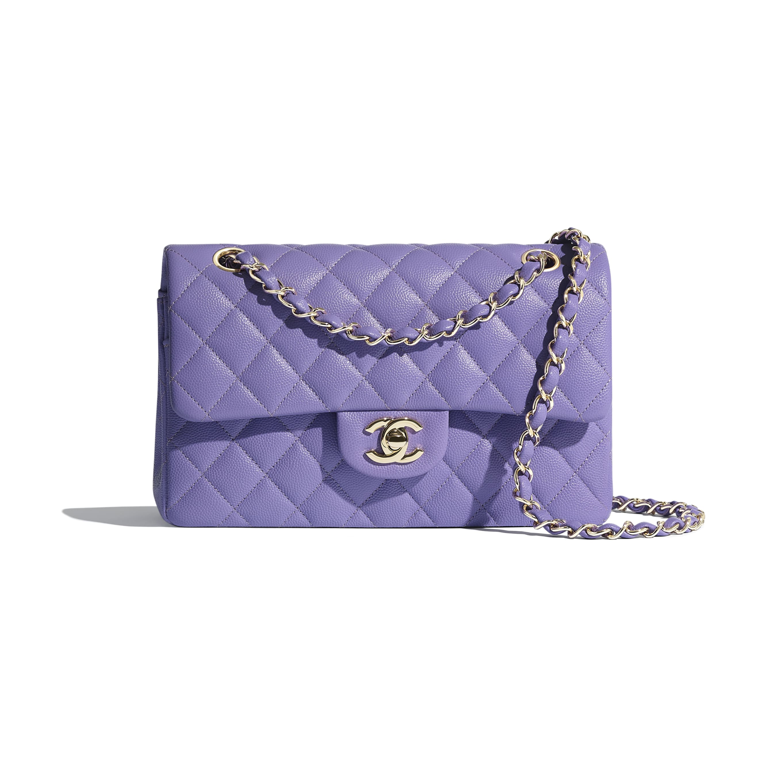 Classic Handbag - Purple - Grained Calfskin & Gold-Tone Metal - Default view - see standard sized version