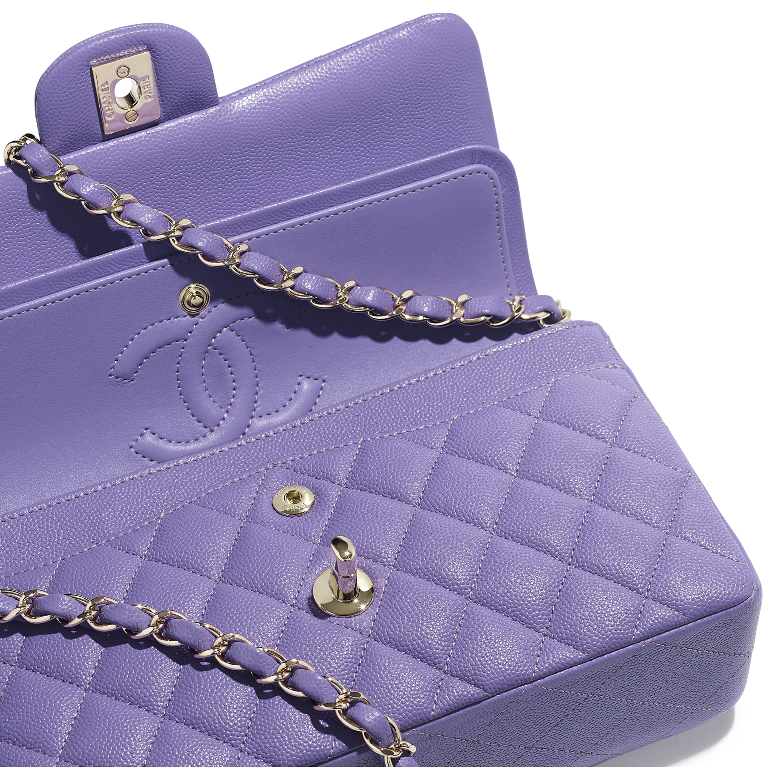 Classic Handbag - Purple - Grained Calfskin & Gold-Tone Metal - Extra view - see standard sized version