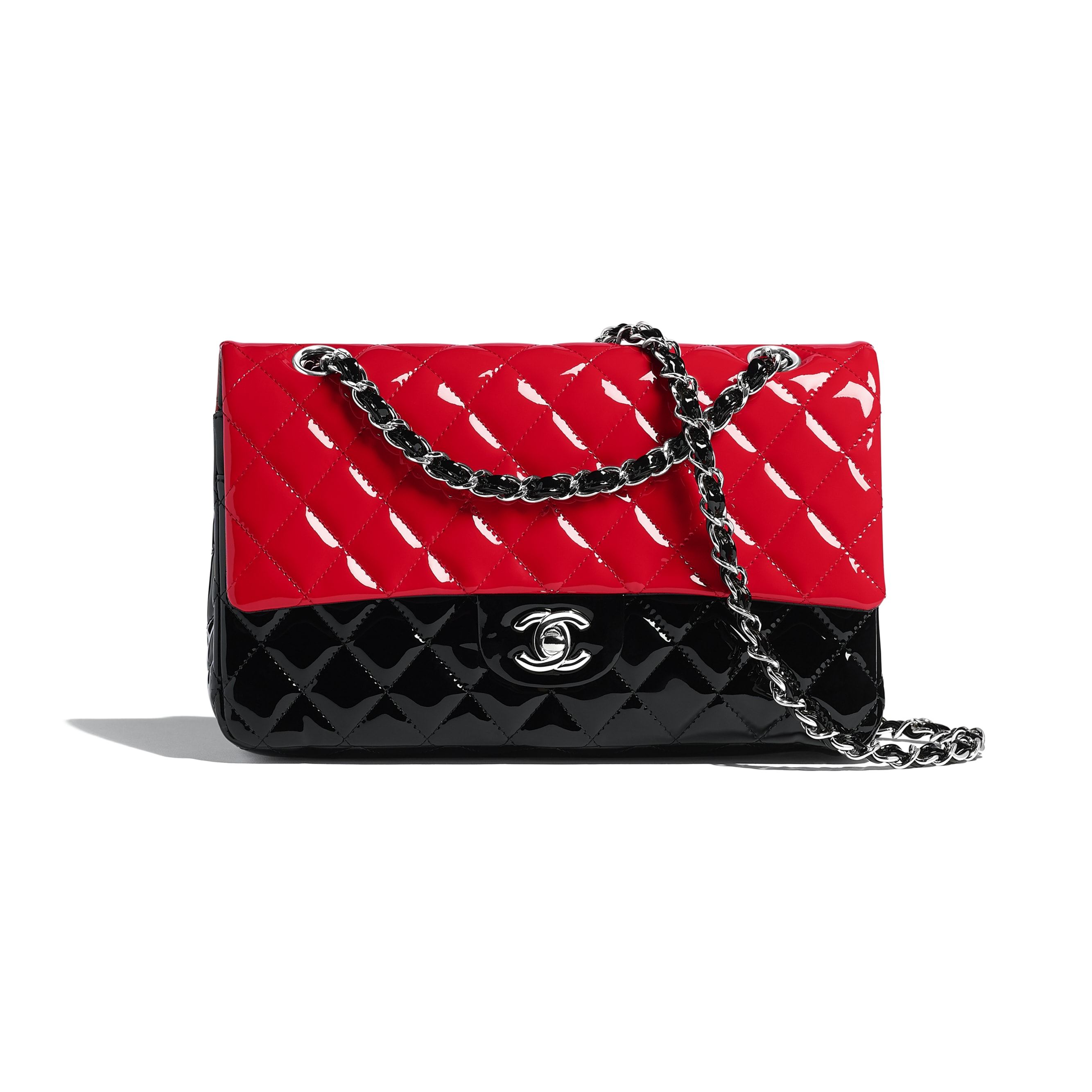 Classic Handbag - Red & Black - Patent Calfskin - Default view - see standard sized version