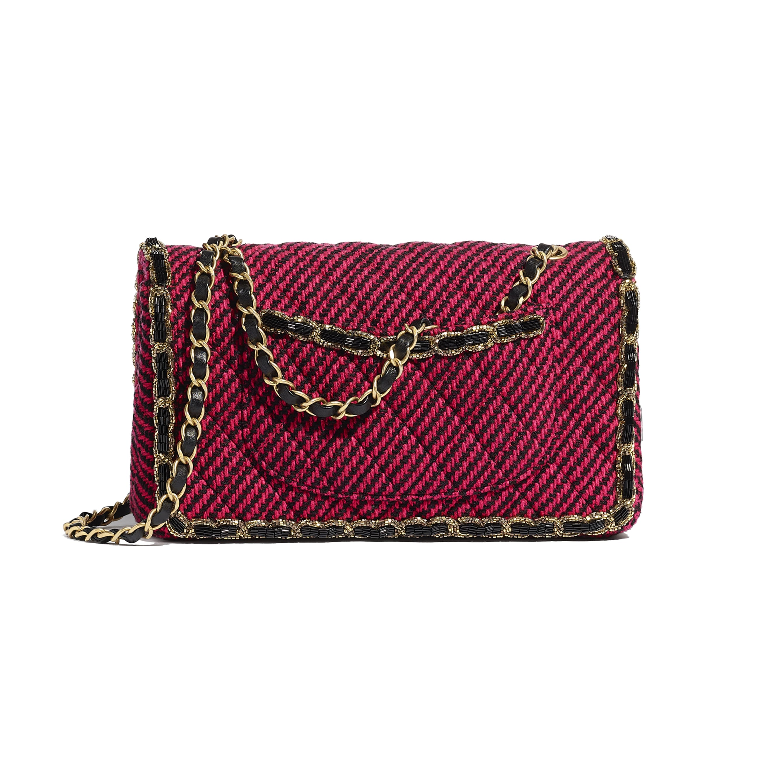 Classic Handbag - Red & Black - Wool Tweed, Glass Pearls & Gold-Tone Metal - CHANEL - Alternative view - see standard sized version