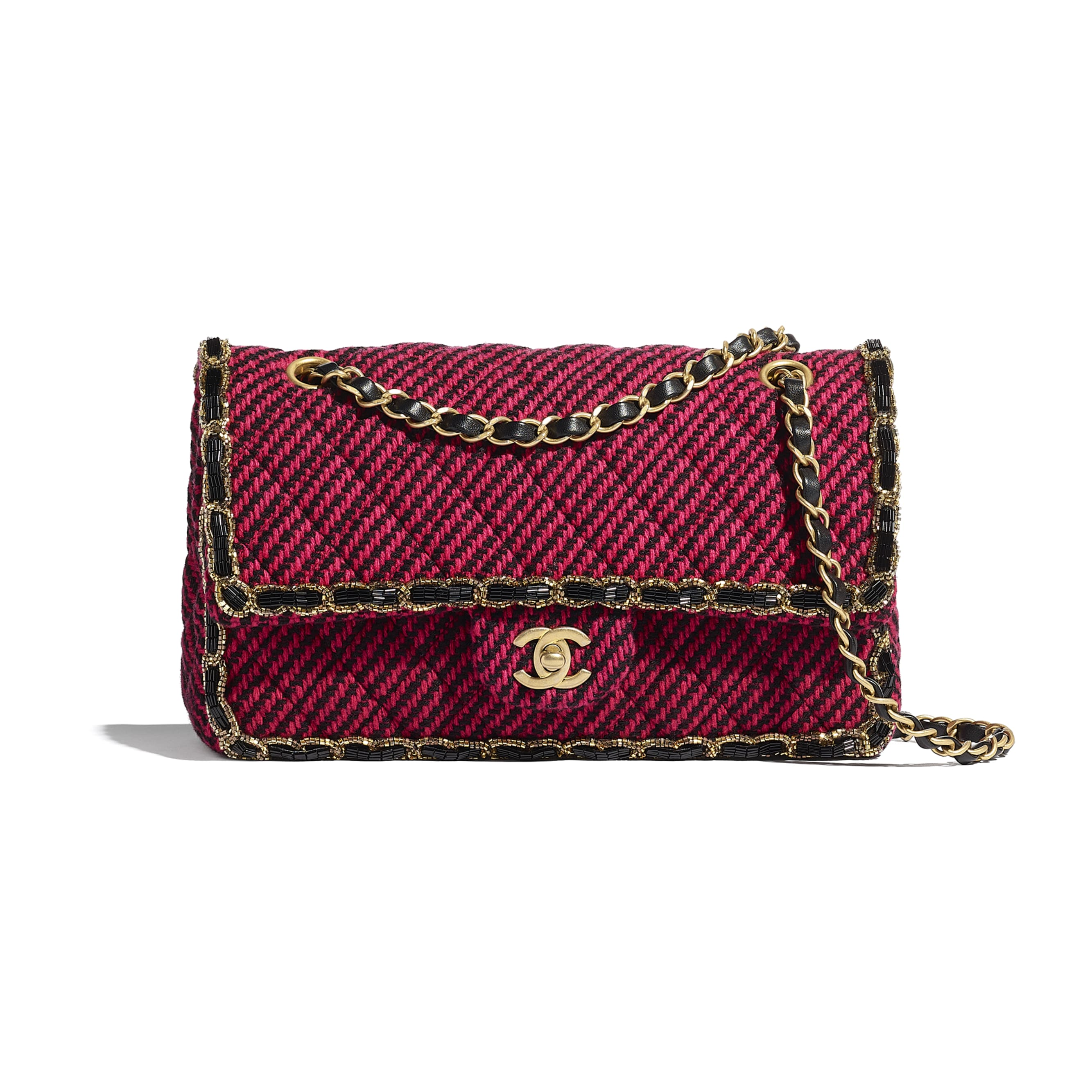 Classic Handbag - Red & Black - Wool Tweed, Glass Pearls & Gold-Tone Metal - CHANEL - Default view - see standard sized version