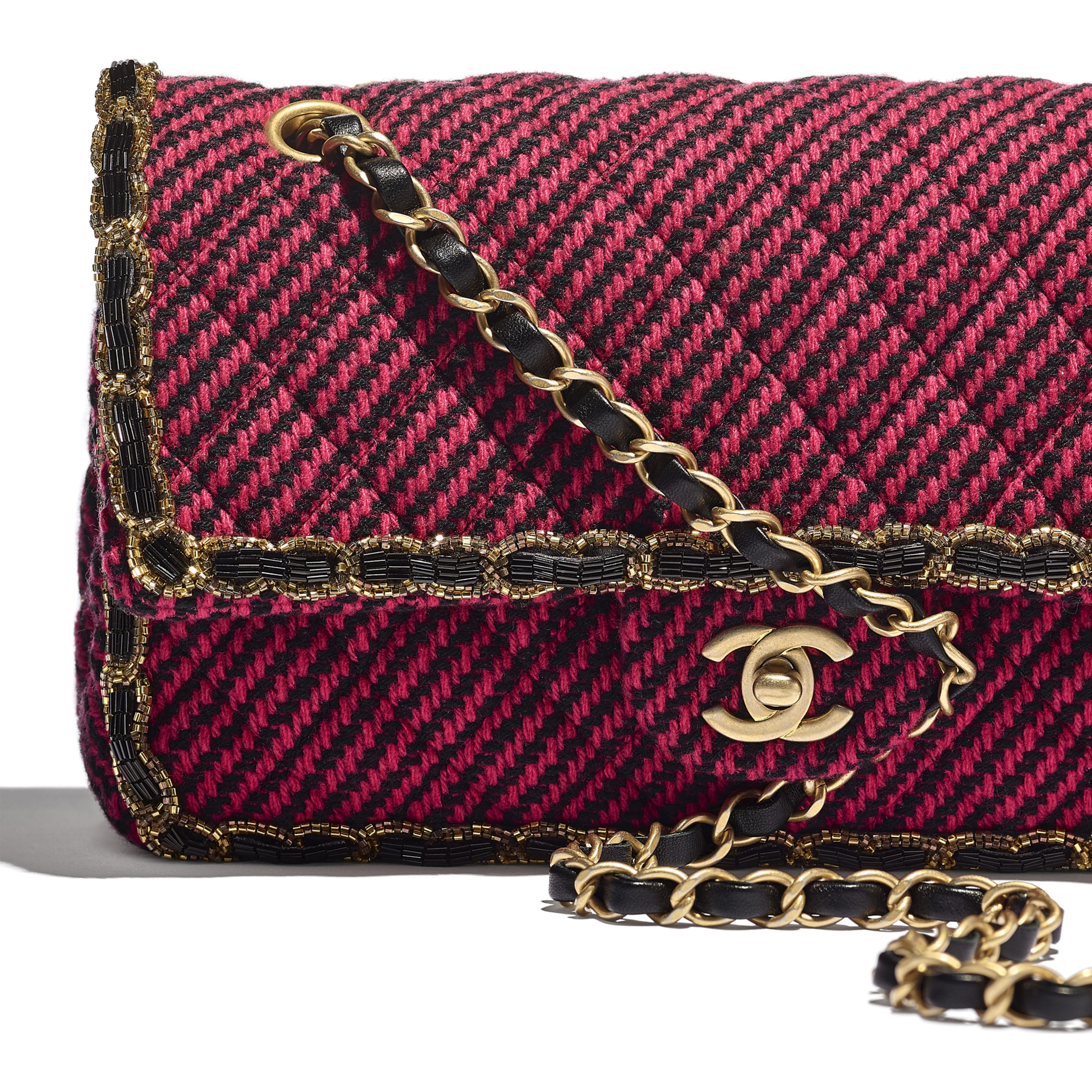 Classic Handbag - Red & Black - Wool Tweed, Glass Pearls & Gold-Tone Metal - CHANEL - Extra view - see standard sized version