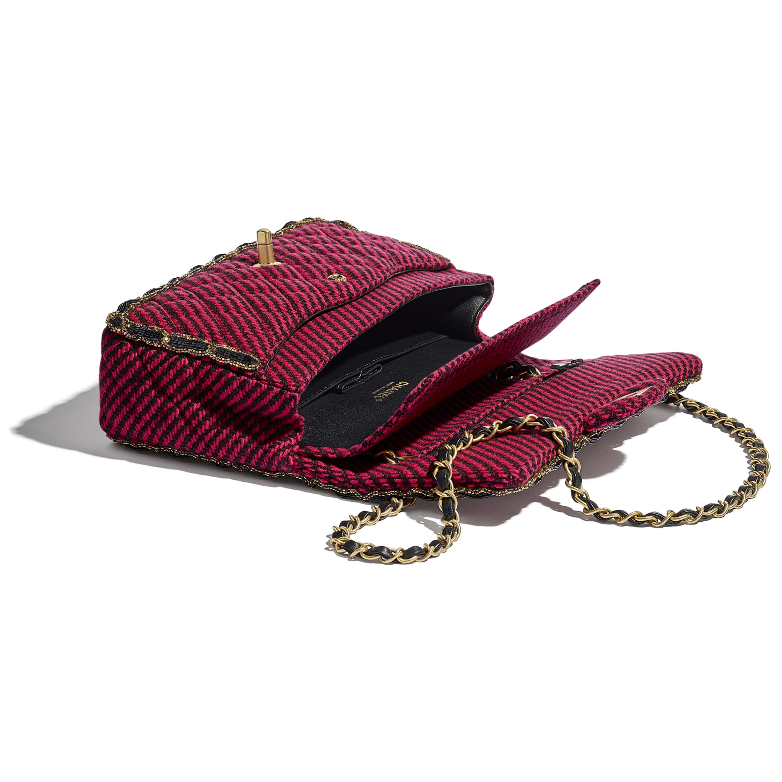 Classic Handbag - Red & Black - Wool Tweed, Glass Pearls & Gold-Tone Metal - CHANEL - Other view - see standard sized version