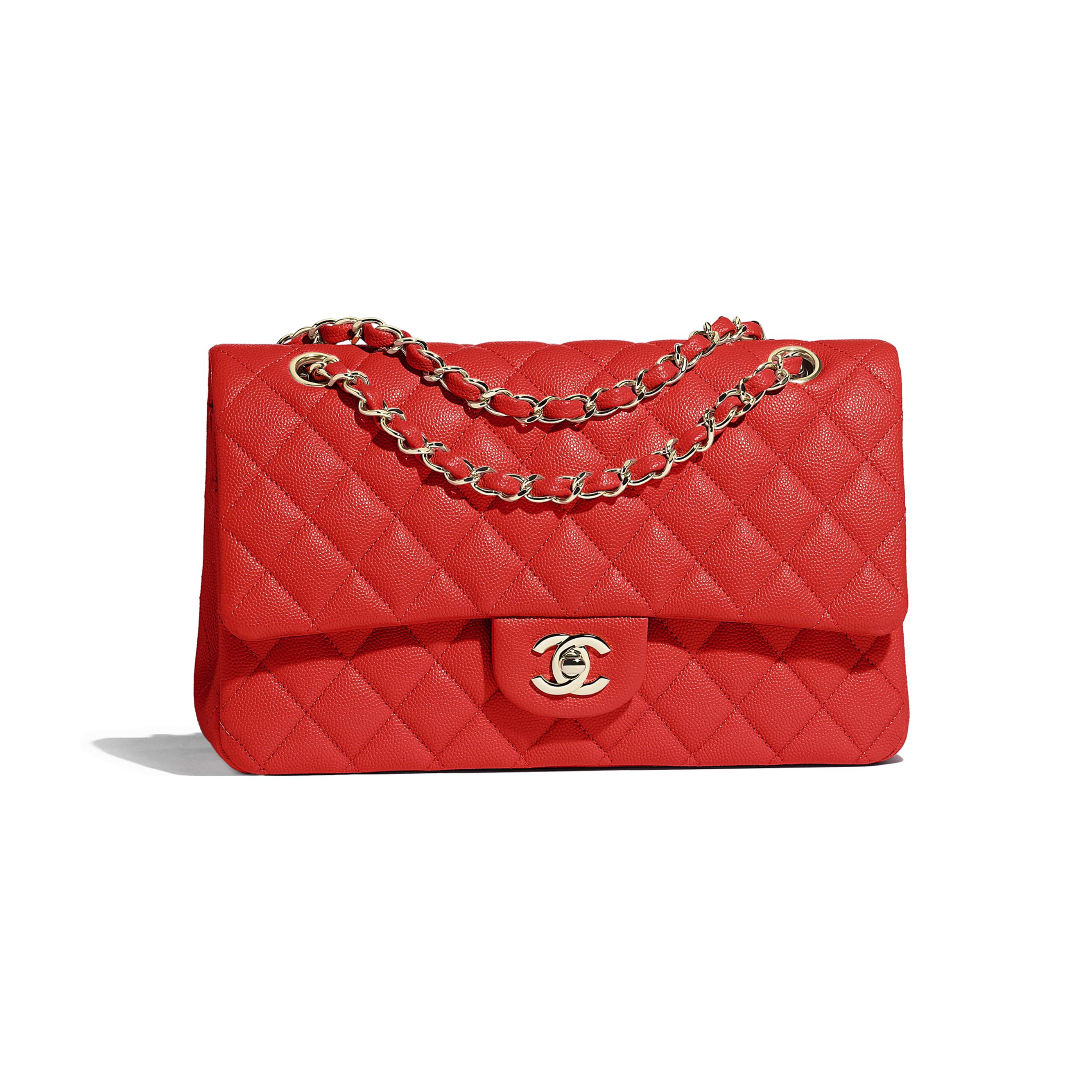 85807f1ee46f ... Classic Handbag - Red - Grained Calfskin   Gold-Tone Metal - Default  view -