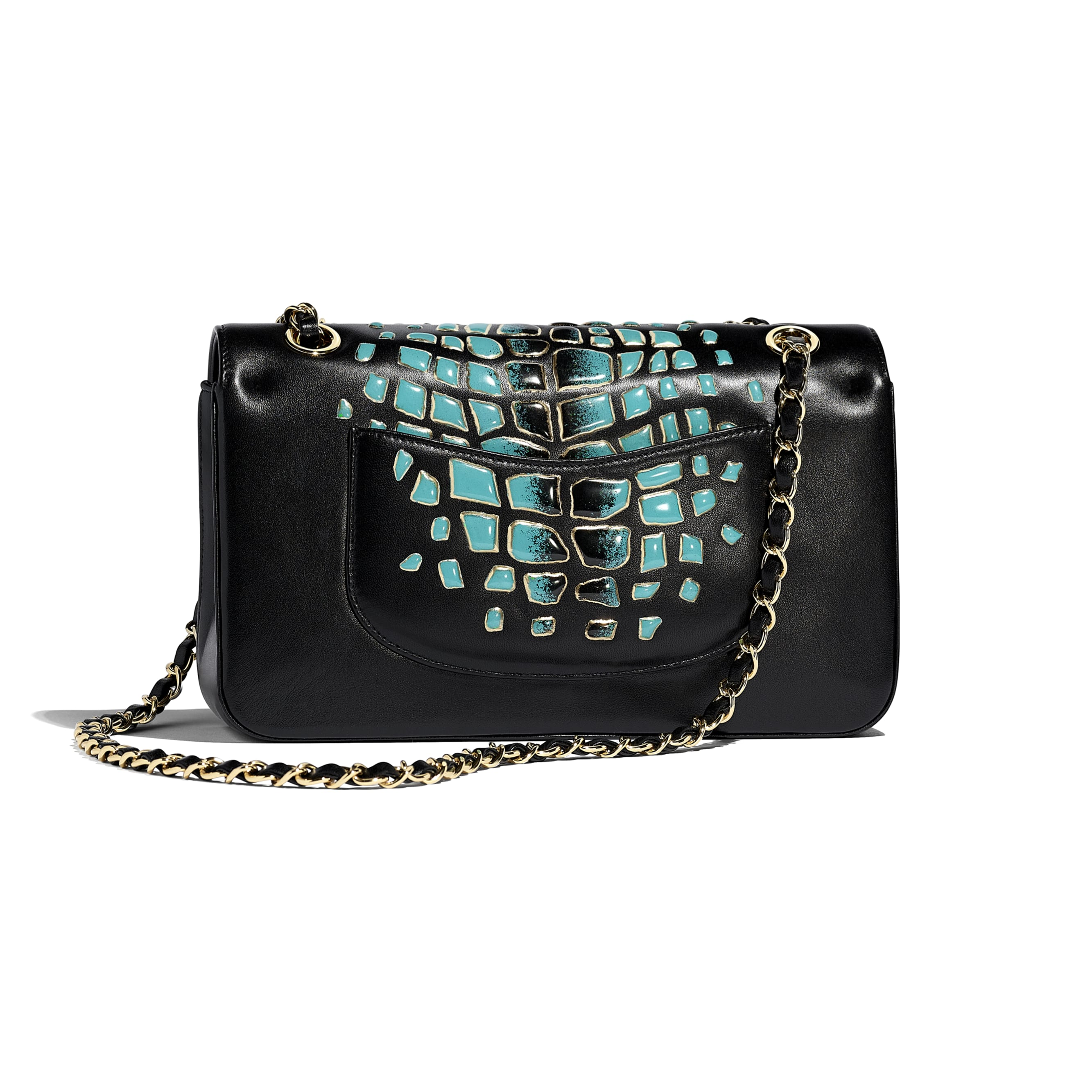 Classic Handbag - Turquoise & Black - Lambskin, Resin & Gold-Tone Metal - Alternative view - see standard sized version