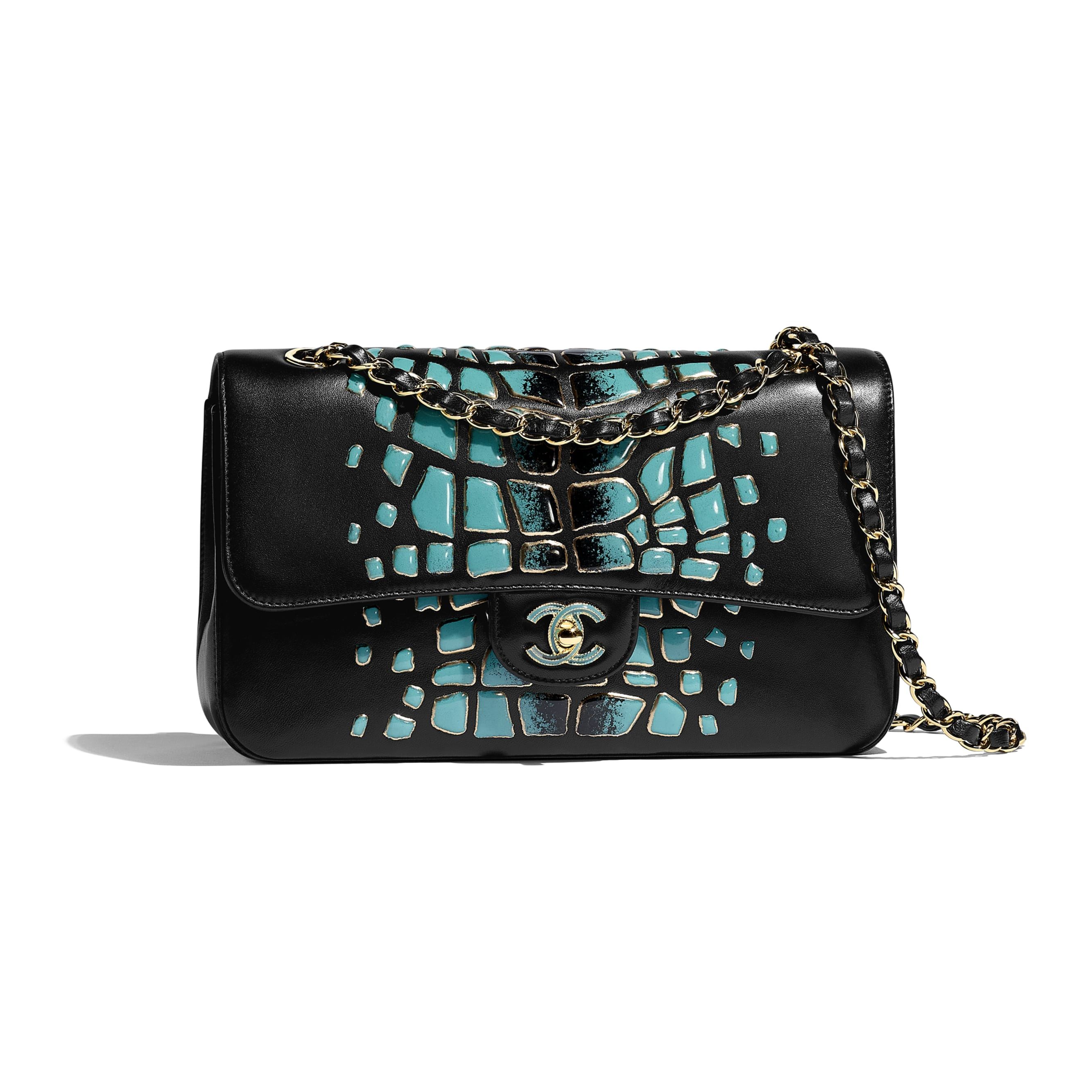 Classic Handbag - Turquoise & Black - Lambskin, Resin & Gold-Tone Metal - Default view - see standard sized version