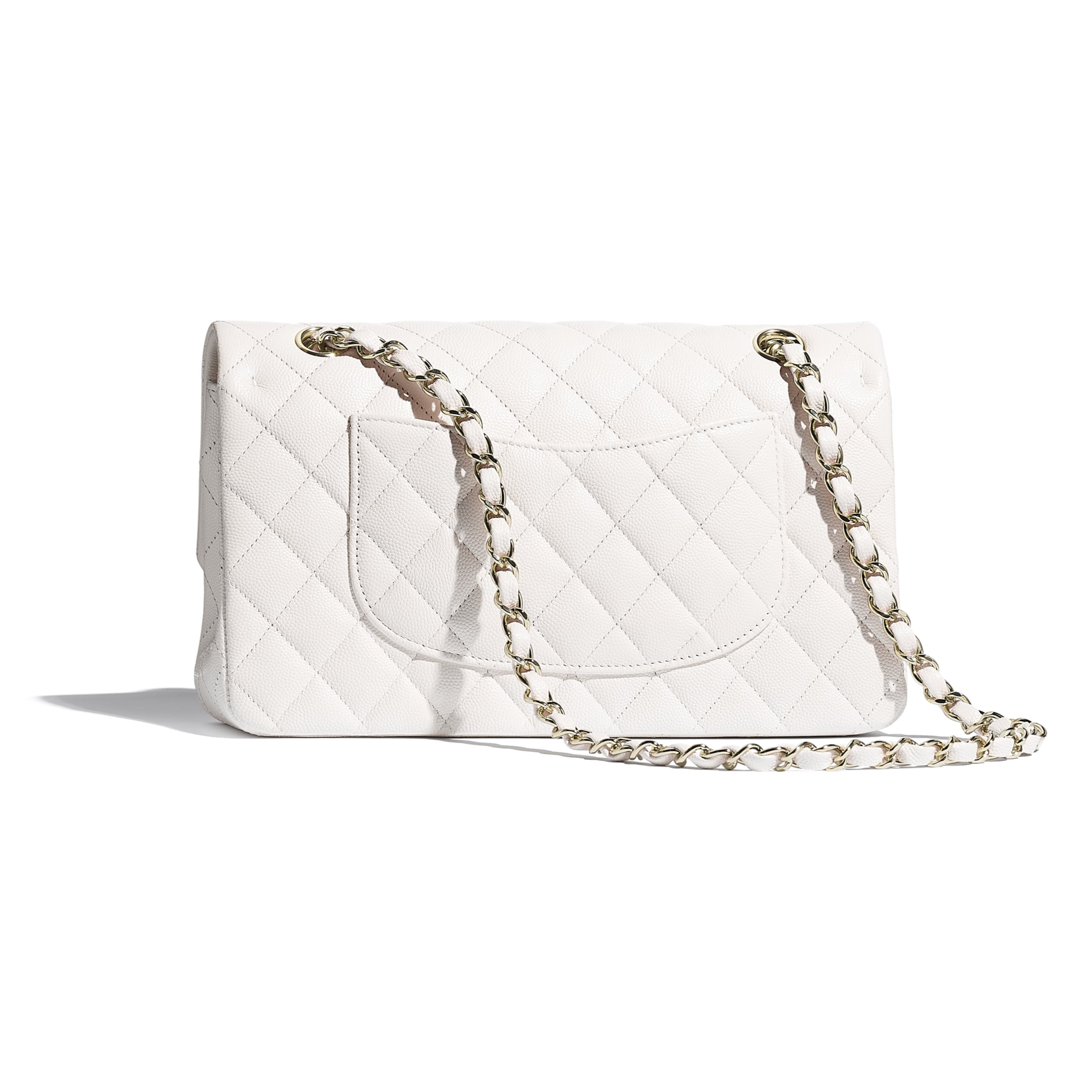 Classic Handbag - White - Grained Calfskin & Gold-Tone Metal - CHANEL - Alternative view - see standard sized version