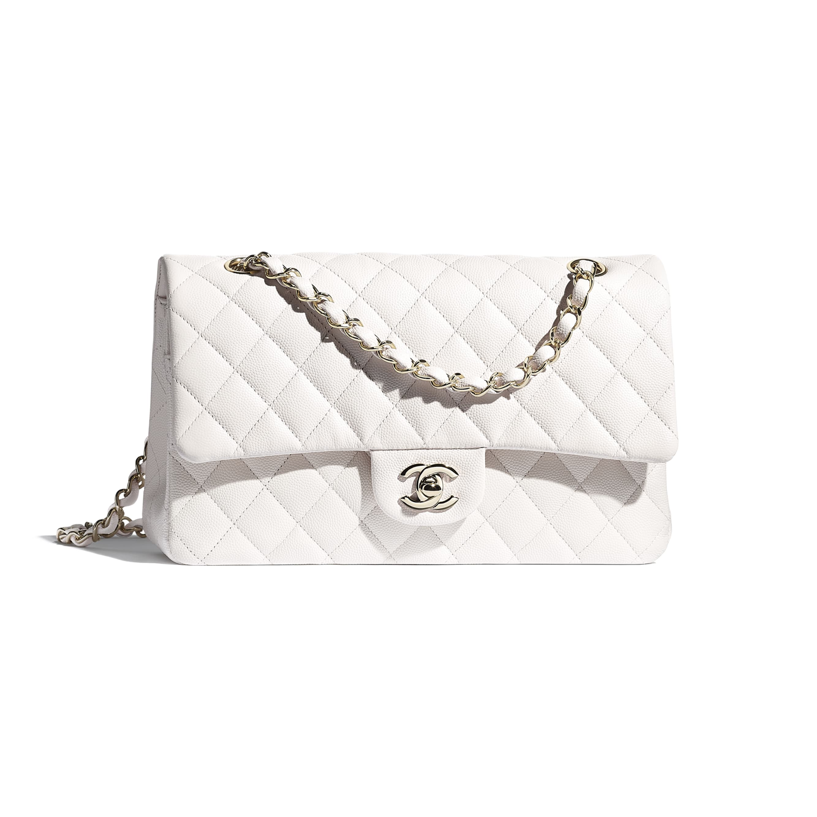 Classic Handbag - White - Grained Calfskin & Gold-Tone Metal - CHANEL - Default view - see standard sized version
