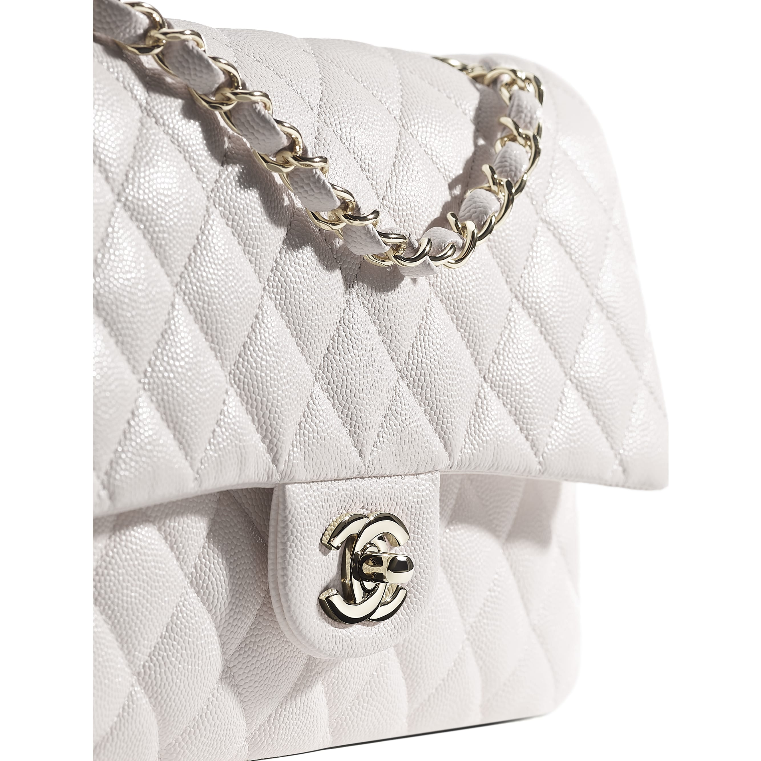 Classic Handbag - White - Grained Calfskin & Gold-Tone Metal - CHANEL - Extra view - see standard sized version