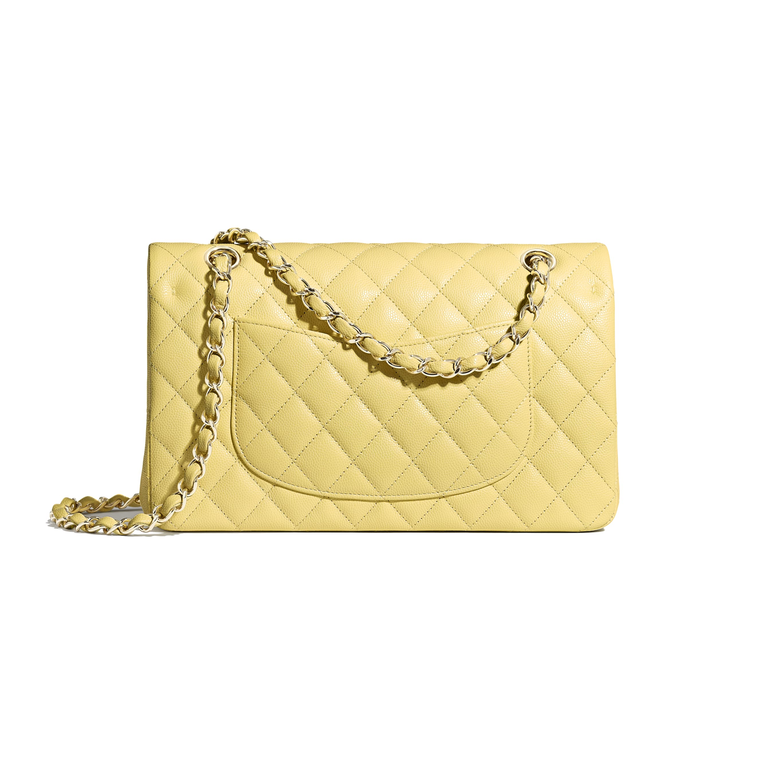 Classic Handbag - Yellow - Grained Calfskin & Gold-Tone Metal - Alternative view - see standard sized version