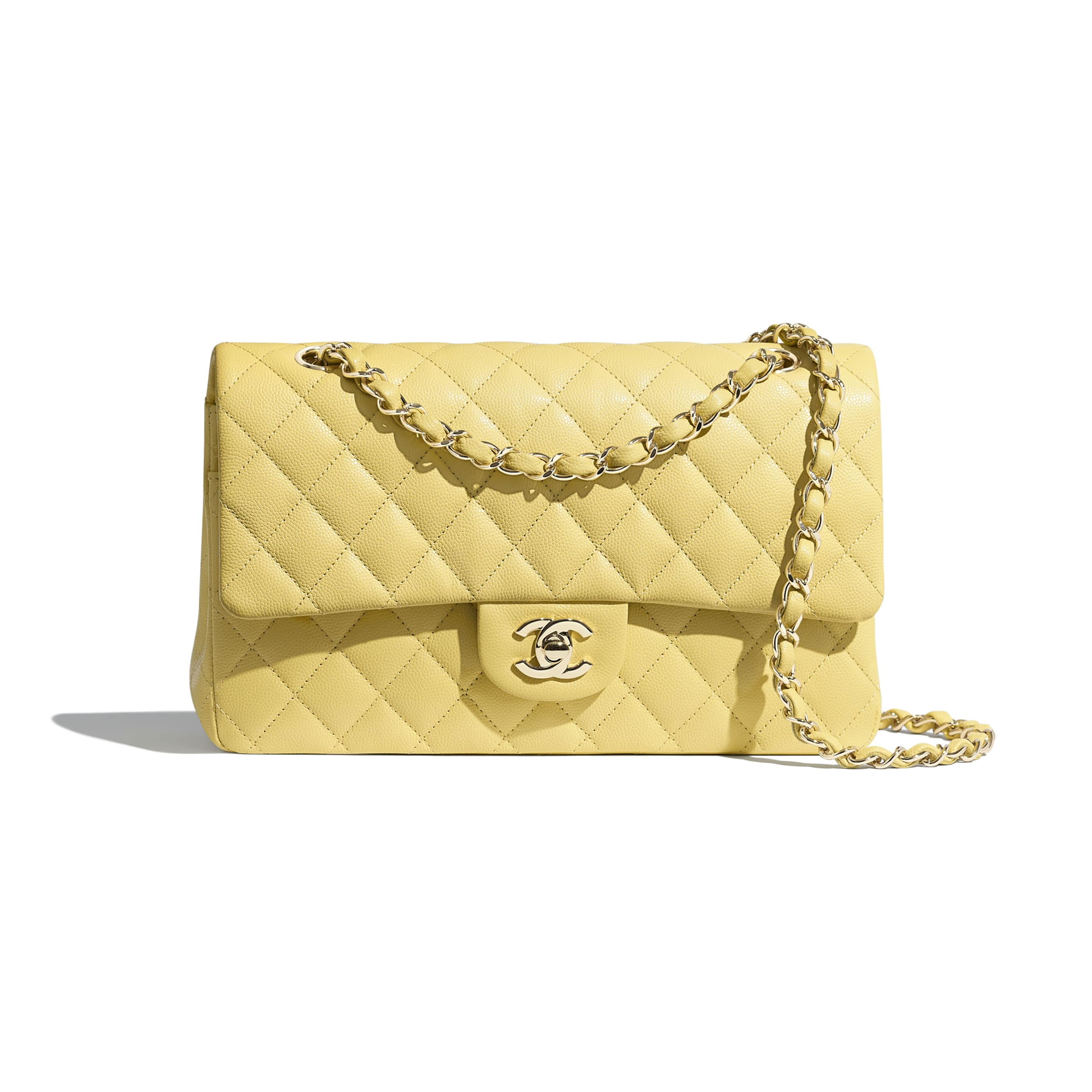 Classic Handbag - Yellow - Grained Calfskin & Gold-Tone Metal - Default view - see standard sized version