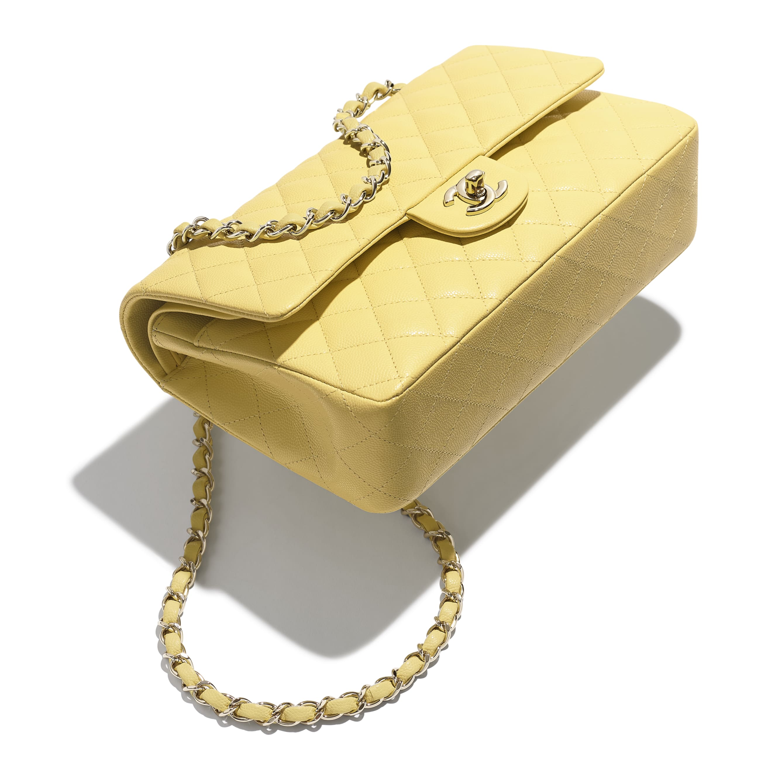 Classic Handbag - Yellow - Grained Calfskin & Gold-Tone Metal - Extra view - see standard sized version