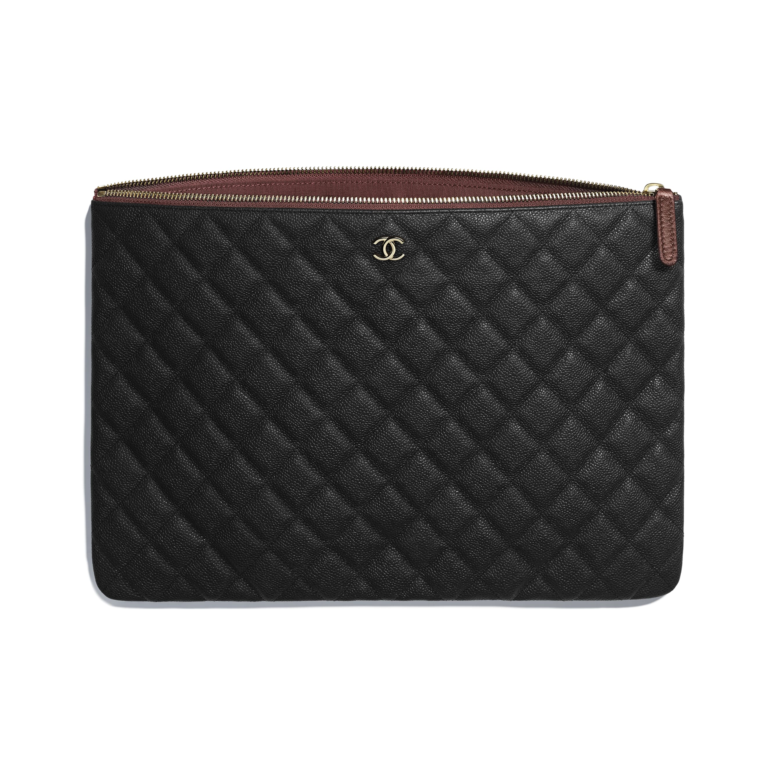 Classic Large Pouch - Black - Grained Calfskin & Gold-Tone Metal - CHANEL - Other view - see standard sized version