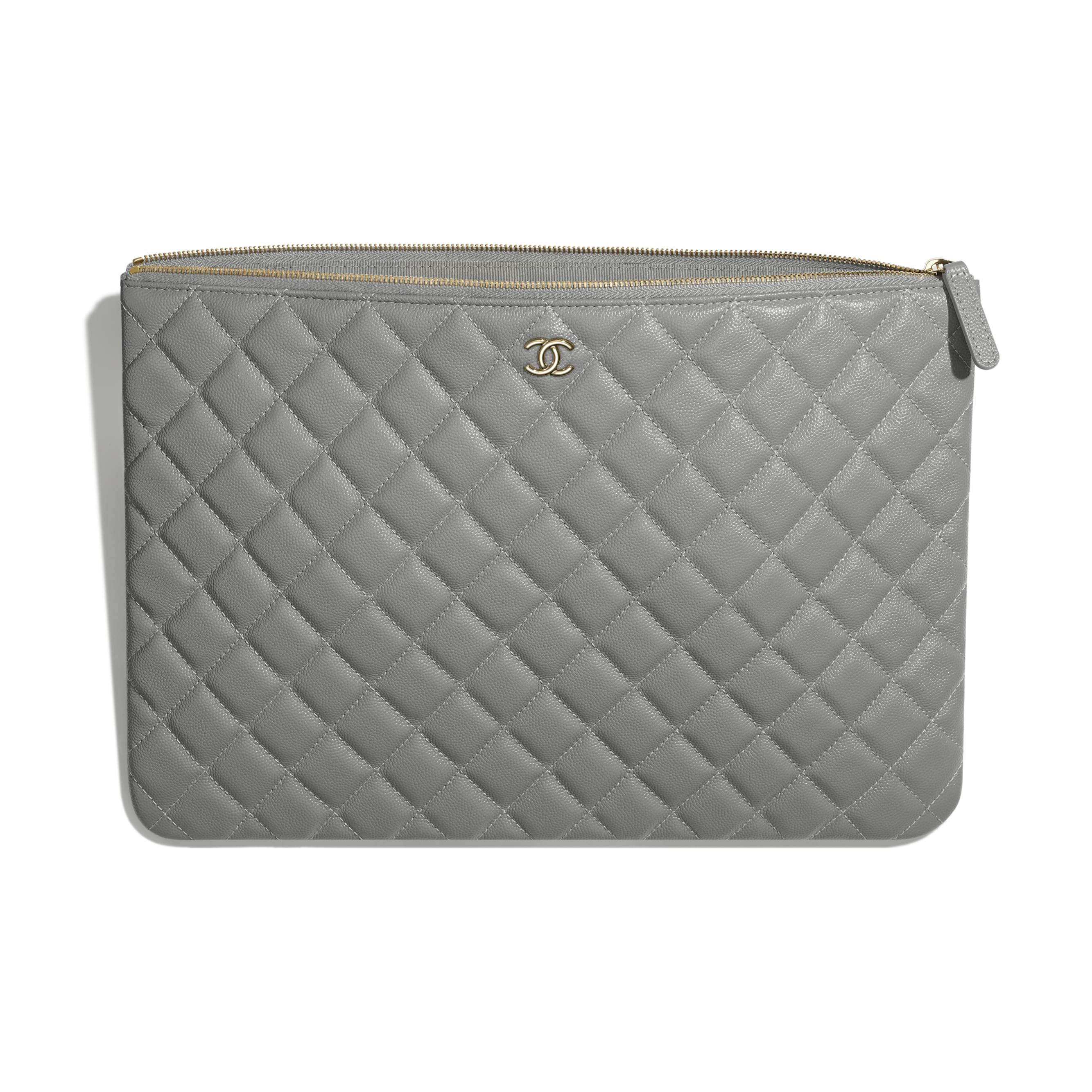 Classic Large Pouch - Gray - Grained Calfskin & Gold-Tone Metal - CHANEL - Other view - see standard sized version