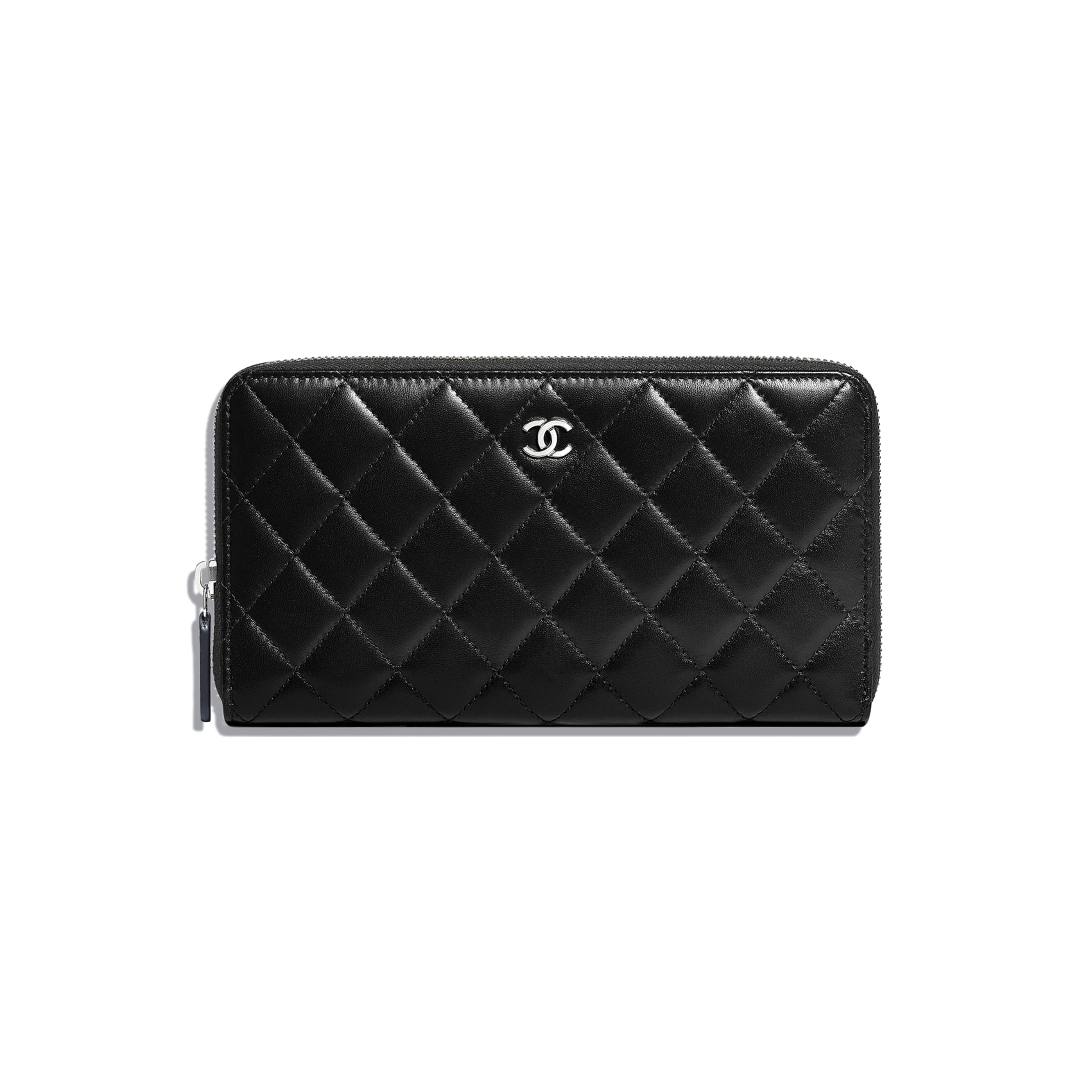 Classic Large Zipped Wallet - Black - Lambskin - Default view - see standard sized version