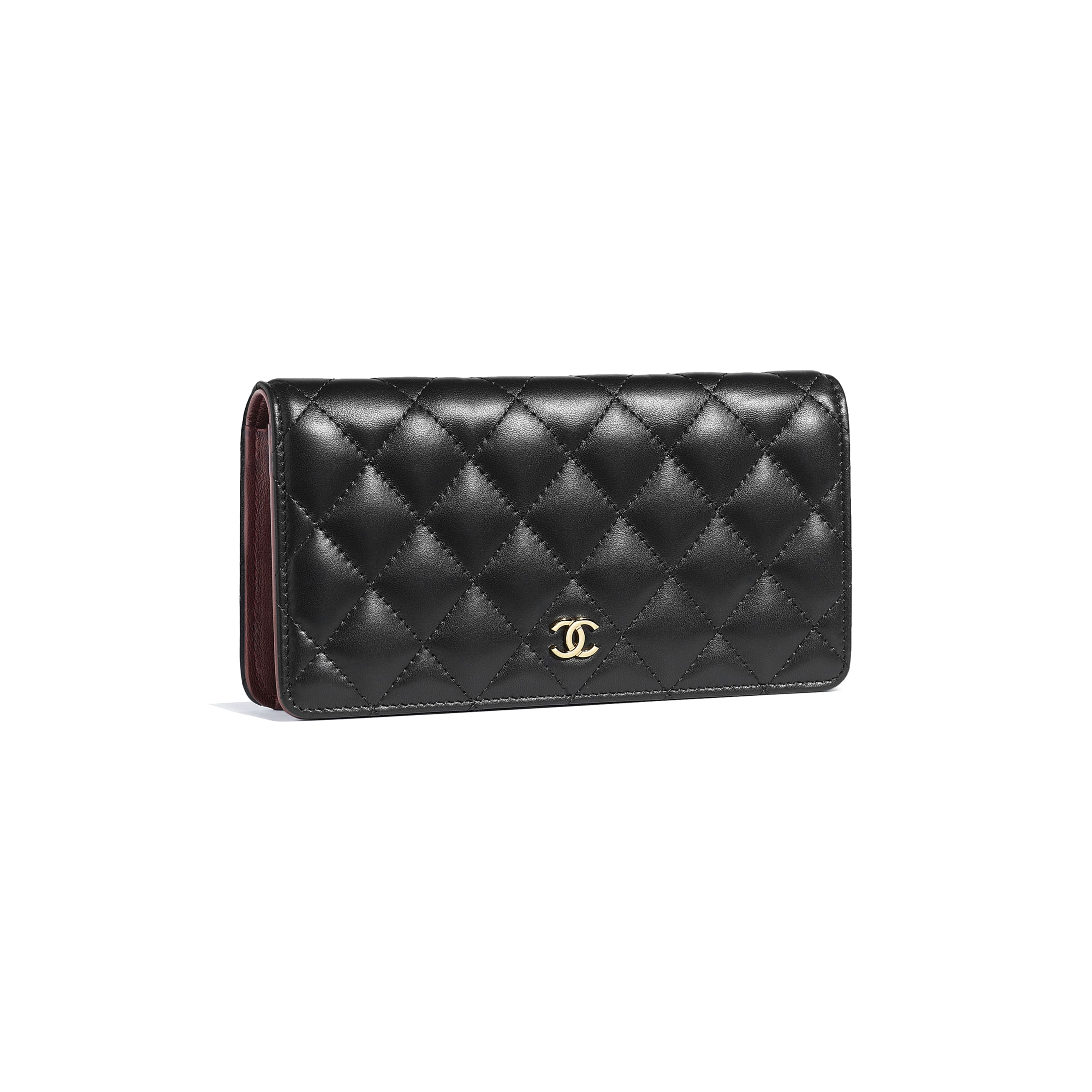 Classic Long Flap Wallet - Black - Lambskin - Other view - see standard sized version