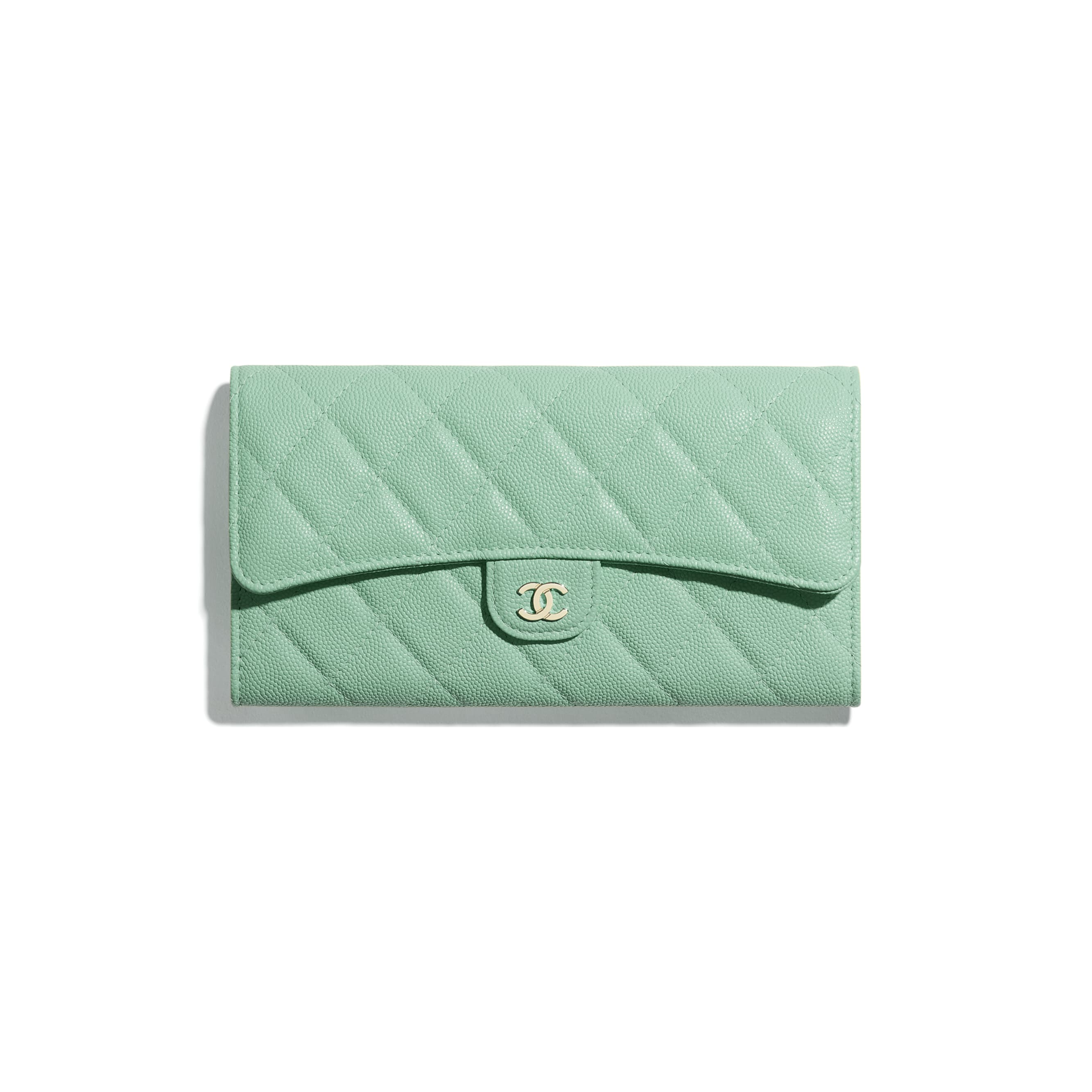 Classic Long Flap Wallet - Green - Grained Calfskin & Gold-Tone Metal - CHANEL - Default view - see standard sized version