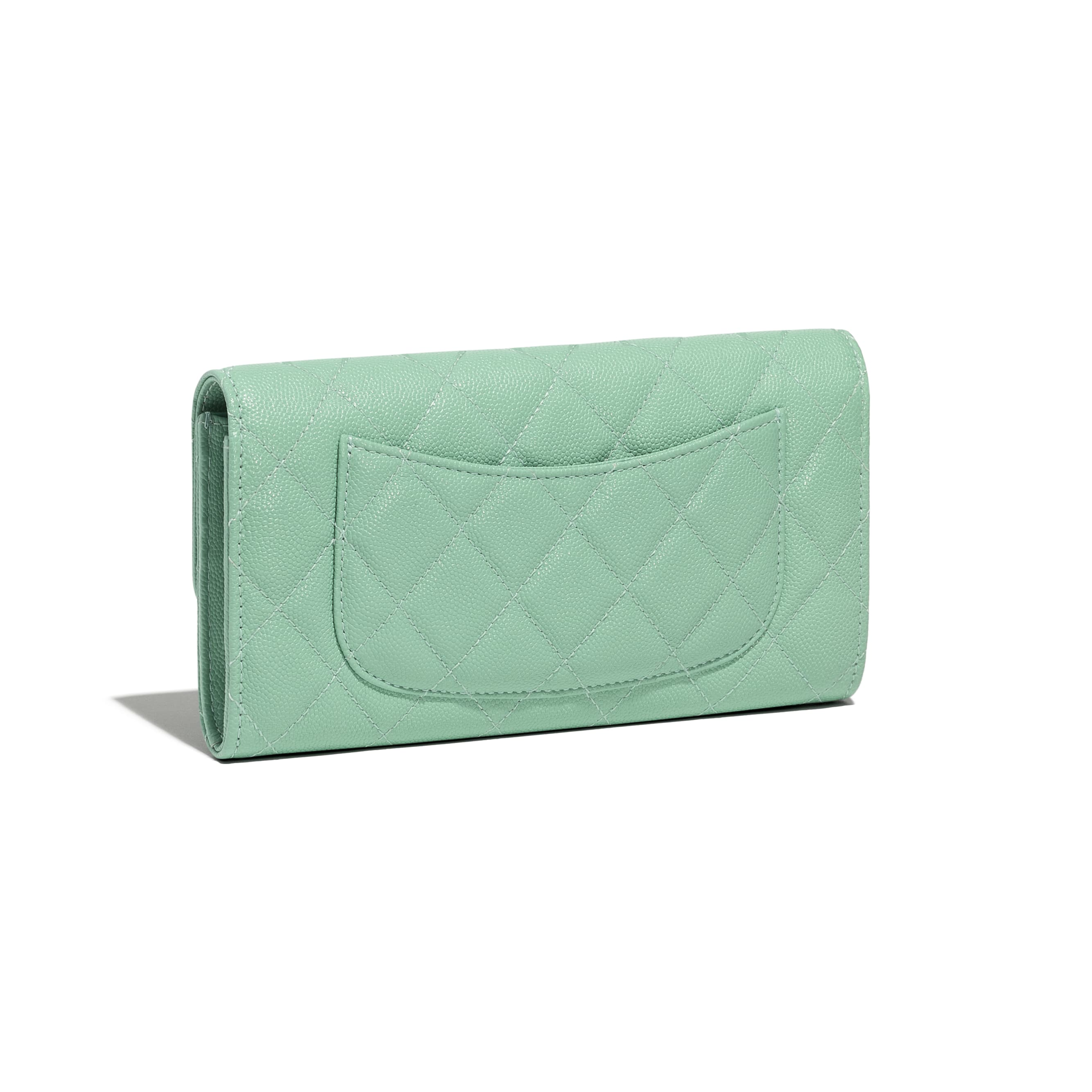 Classic Long Flap Wallet - Green - Grained Calfskin & Gold-Tone Metal - CHANEL - Extra view - see standard sized version