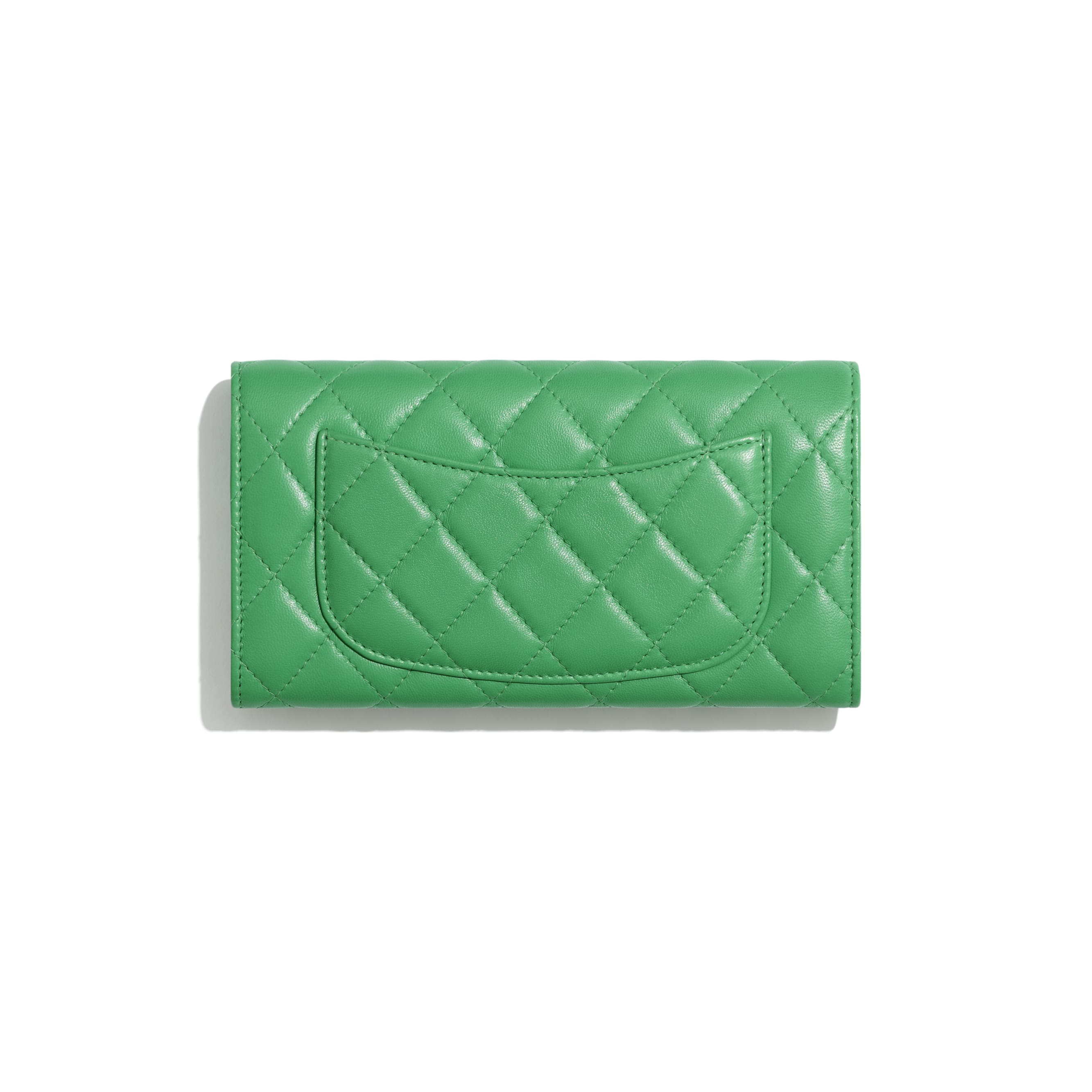 Classic Long Flap Wallet - Green - Lambskin - CHANEL - Alternative view - see standard sized version