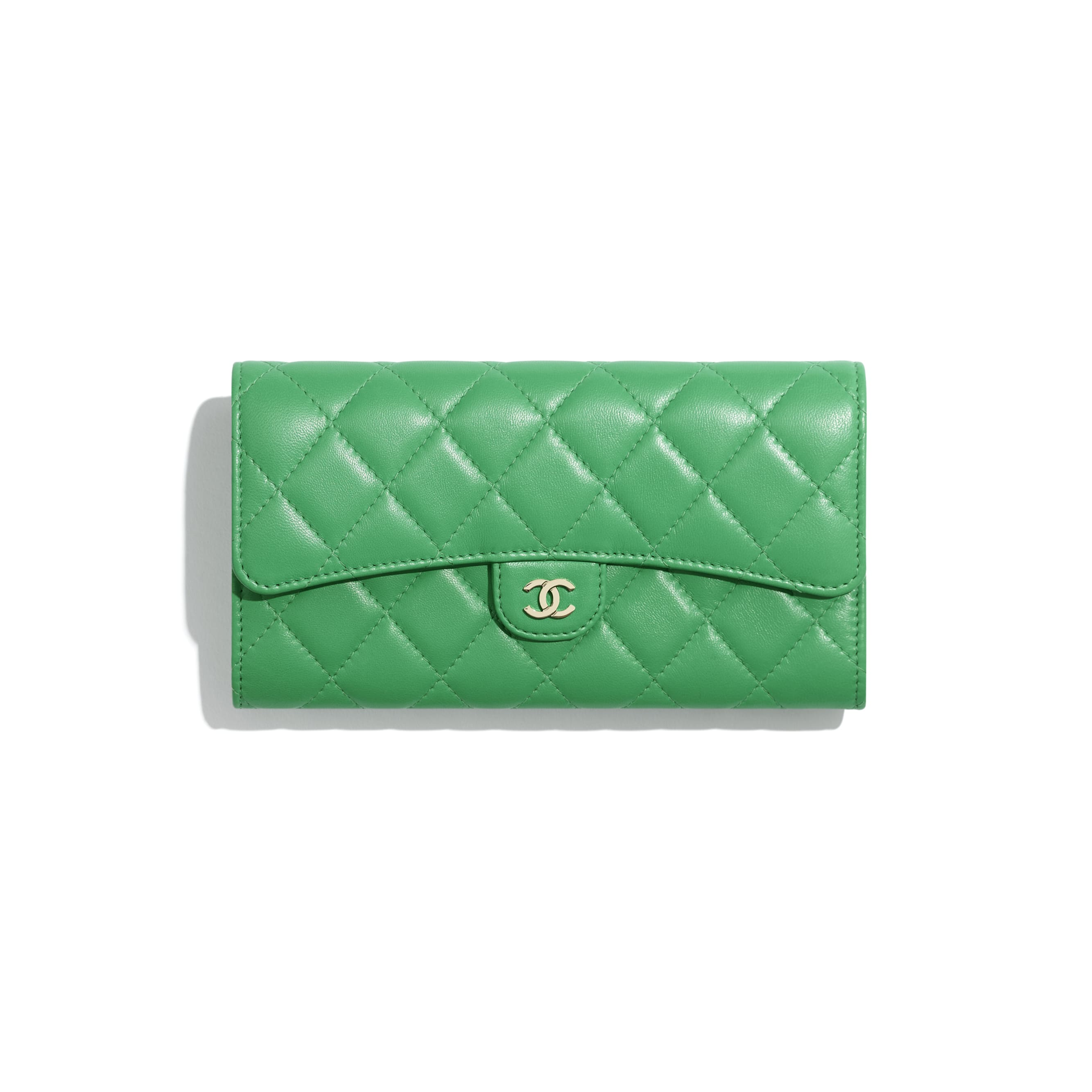 Classic Long Flap Wallet - Green - Lambskin - CHANEL - Default view - see standard sized version