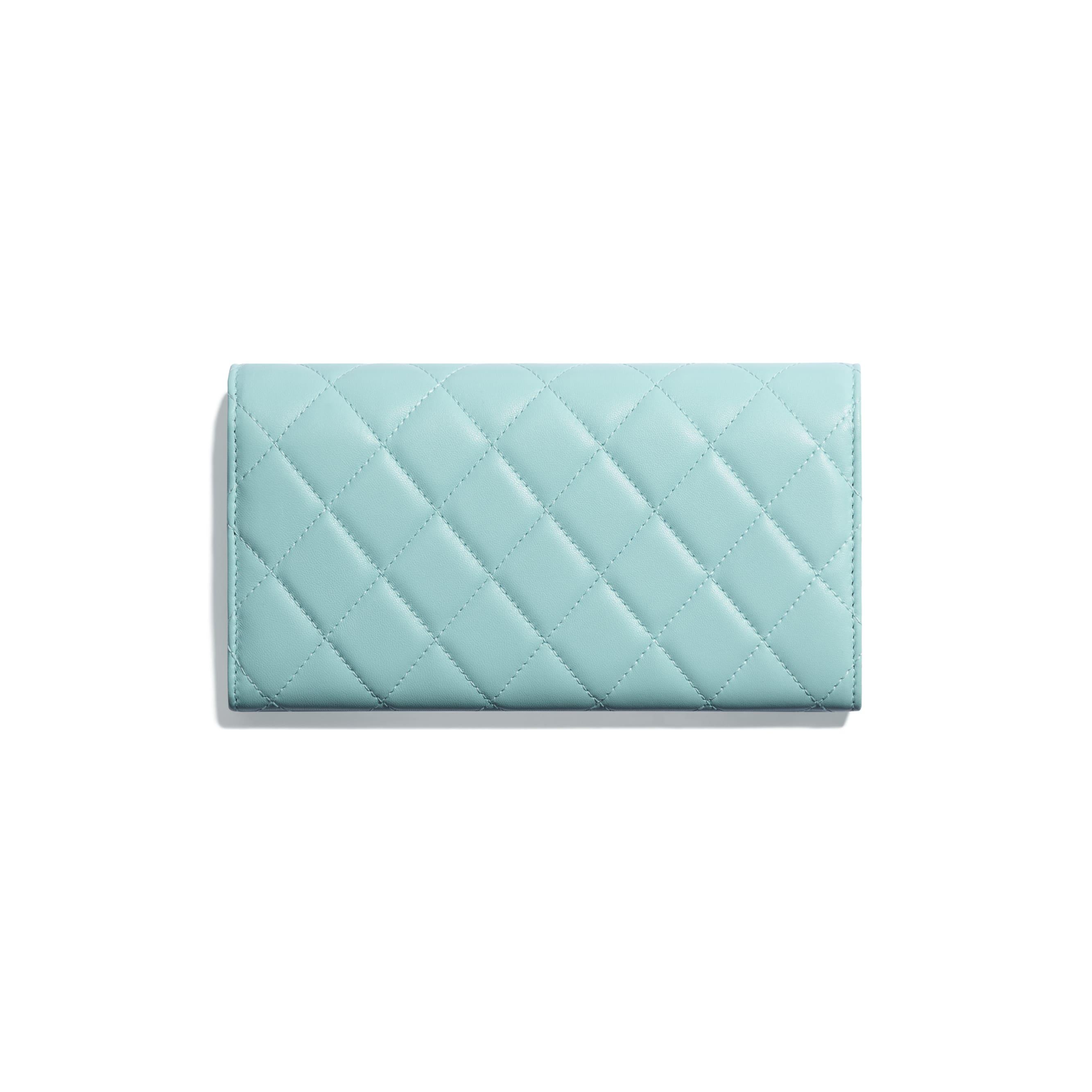 ... Classic Long Flap Wallet - Light Blue - Lambskin   Lacquered  Silver-Tone Metal - 1e558b89deb4f