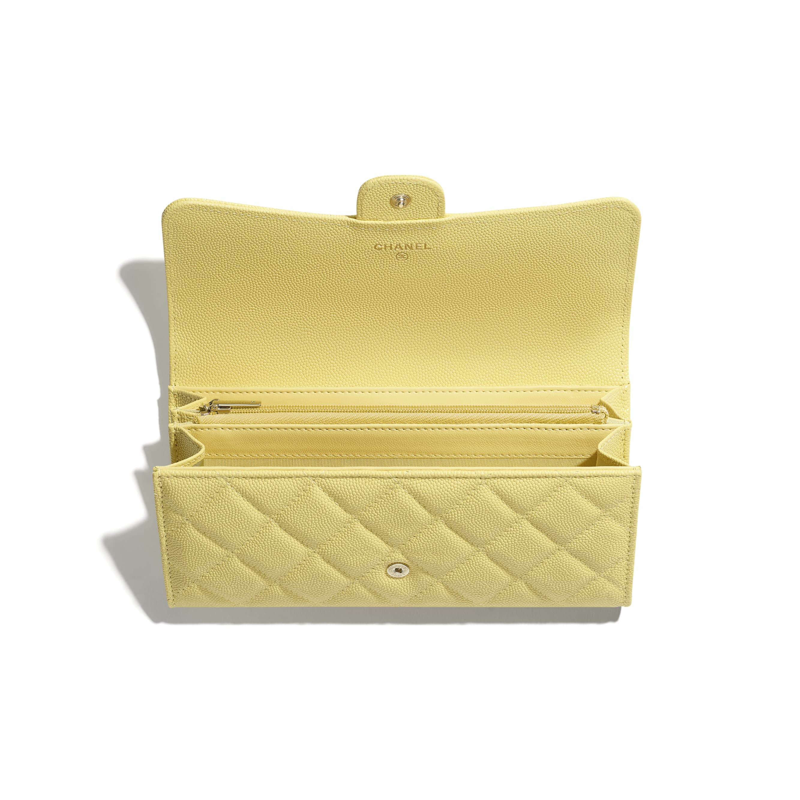 Classic Long Flap Wallet - Yellow - Grained Calfskin & Gold-Tone Metal - CHANEL - Alternative view - see standard sized version