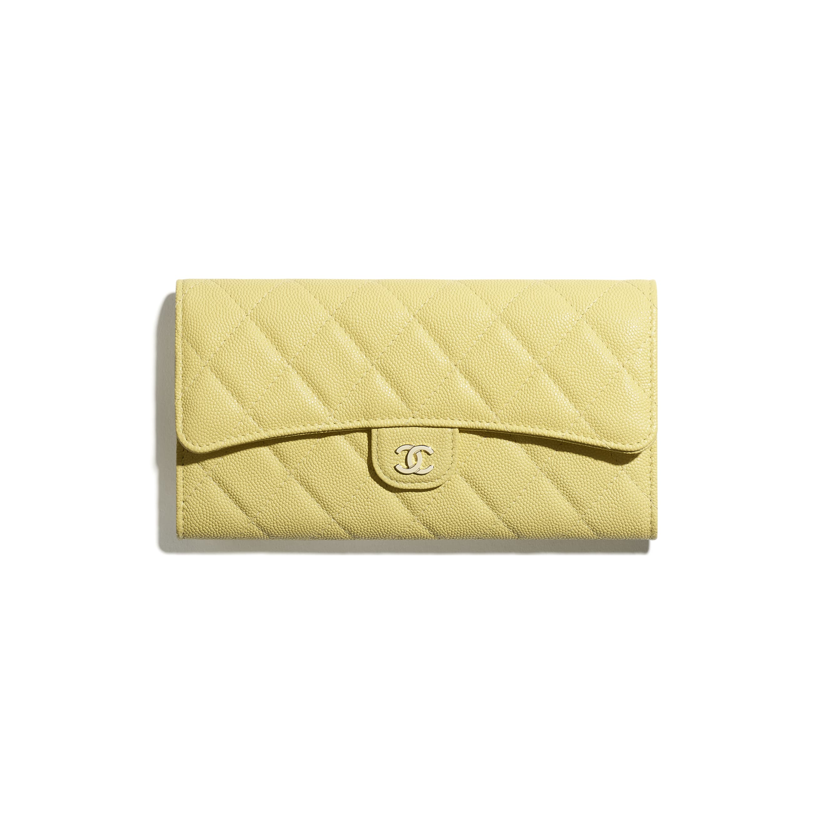 Classic Long Flap Wallet - Yellow - Grained Calfskin & Gold-Tone Metal - CHANEL - Default view - see standard sized version