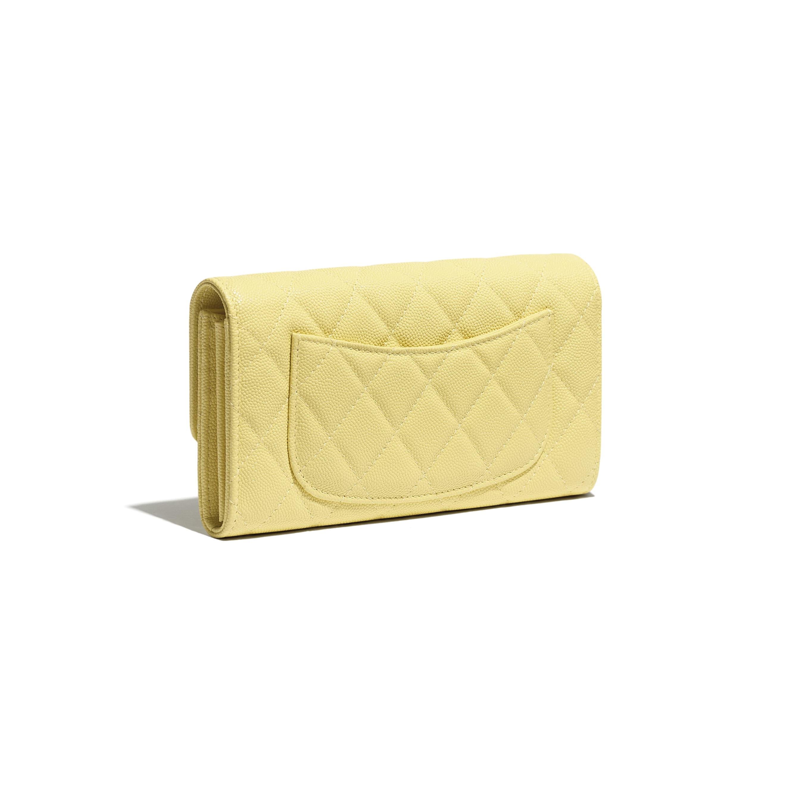 Classic Long Flap Wallet - Yellow - Grained Calfskin & Gold-Tone Metal - CHANEL - Extra view - see standard sized version