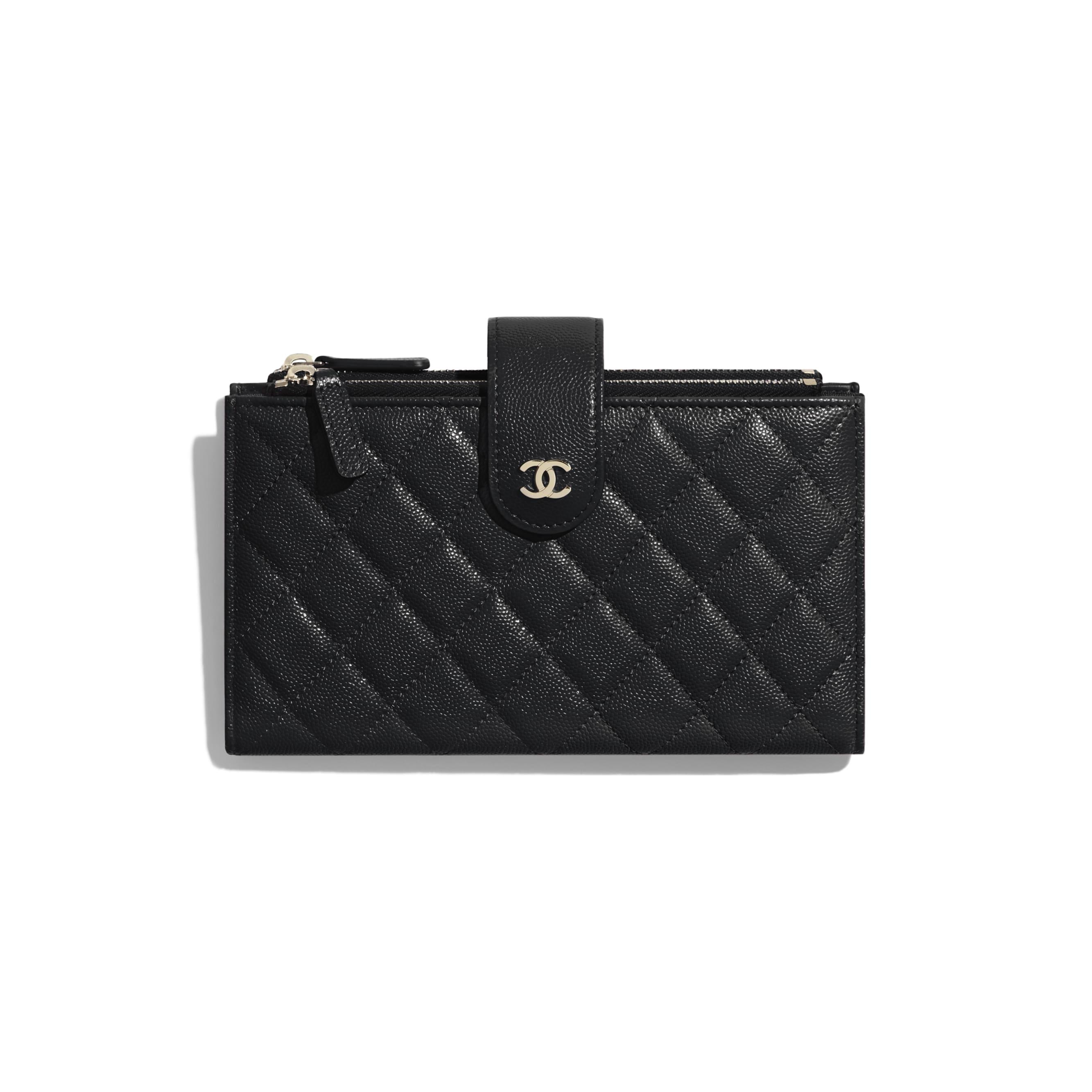 Long portefeuille zippé classique - Noir - Veau grainé & métal doré - CHANEL - Vue par défaut - voir la version taille standard