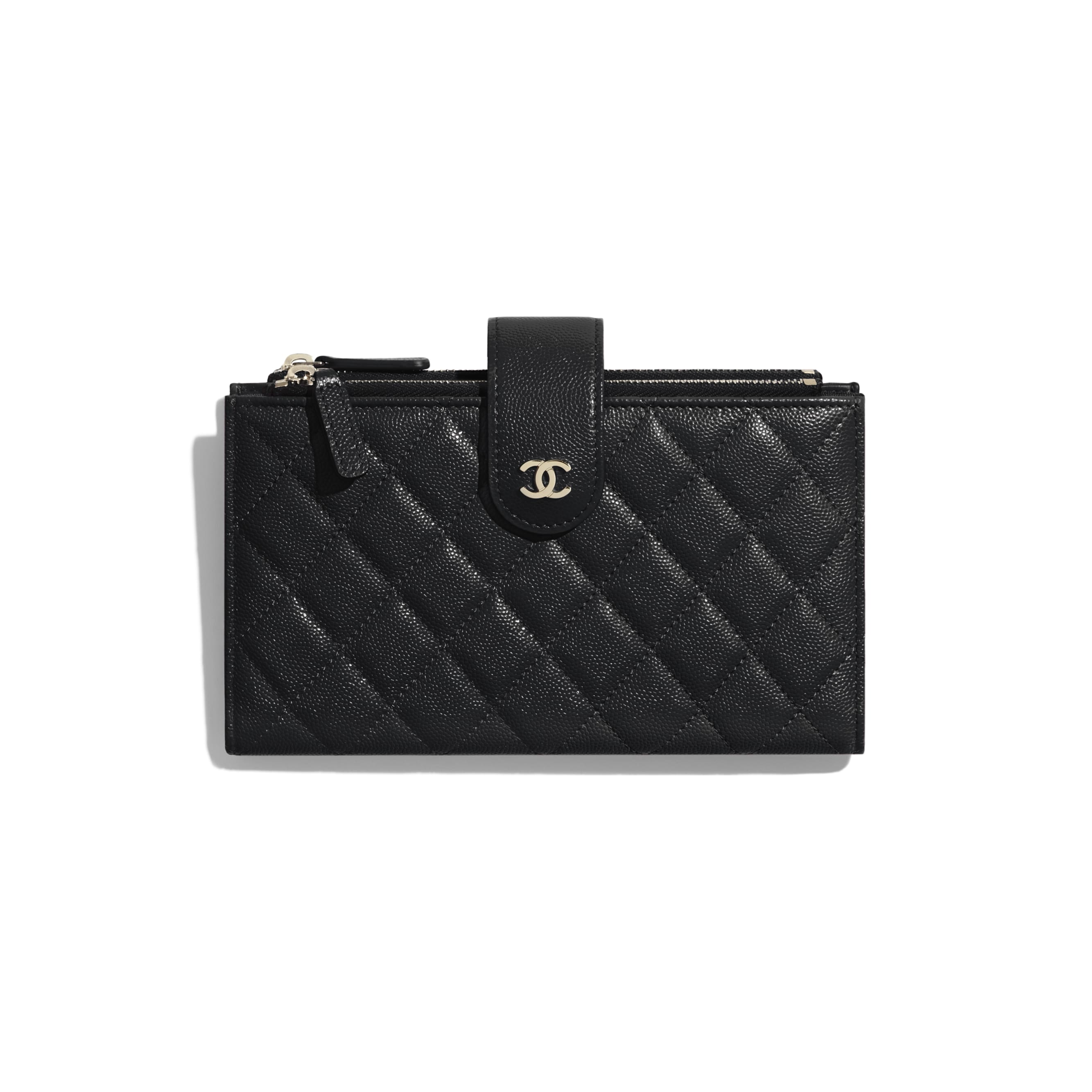 Classic Long Zipped Wallet - Black - Grained Shiny Calfskin & Gold-Tone Metal - CHANEL - Default view - see standard sized version