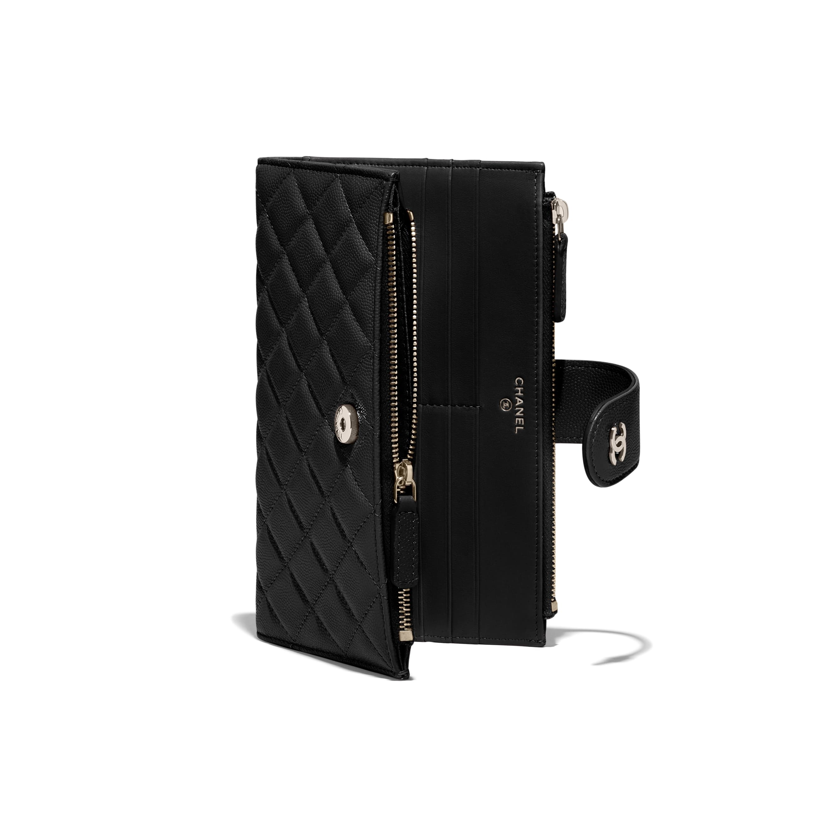 Classic Long Zipped Wallet - Black - Grained Shiny Calfskin & Gold-Tone Metal - CHANEL - Extra view - see standard sized version