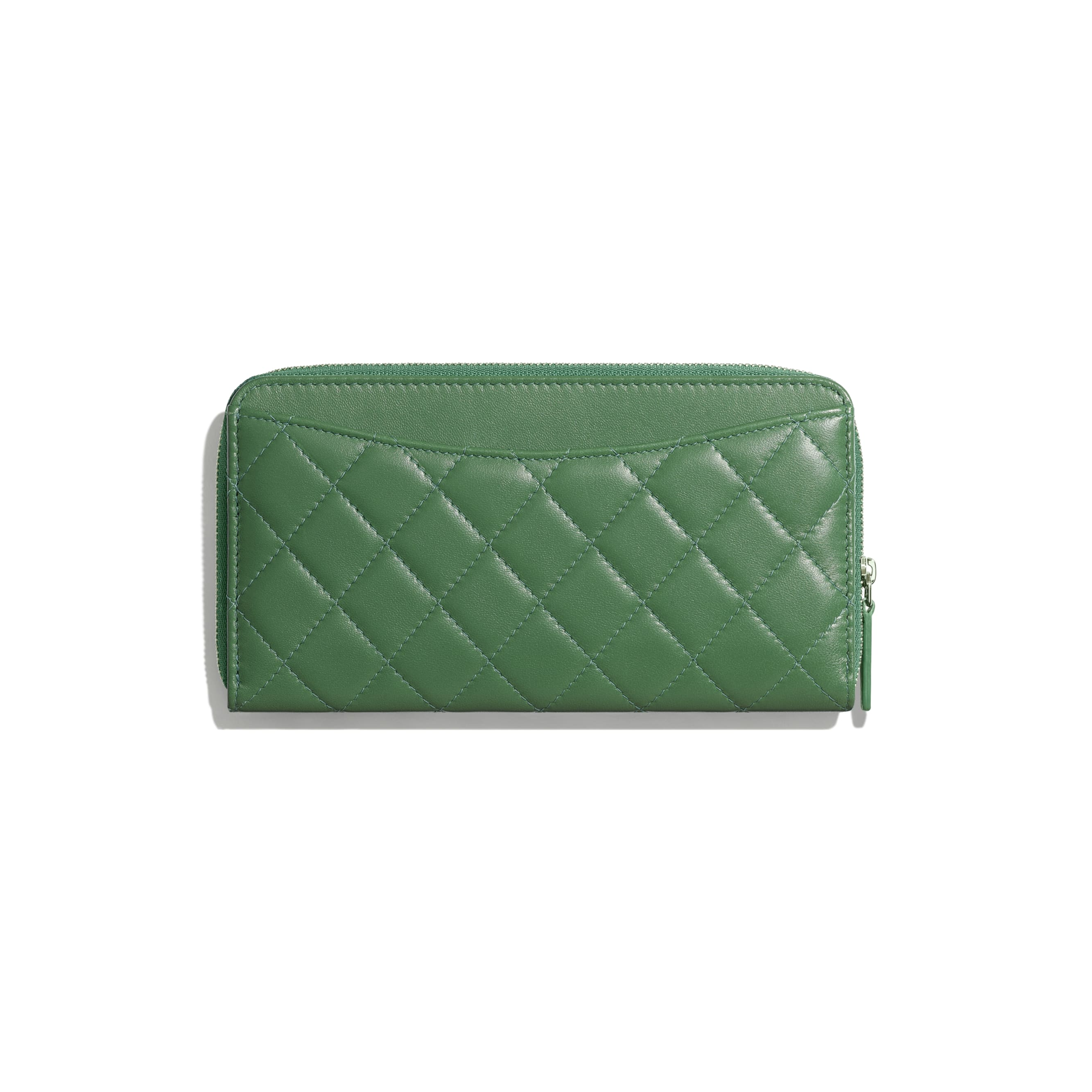 Classic Long Zipped Wallet - Green - Lambskin - Alternative view - see standard sized version