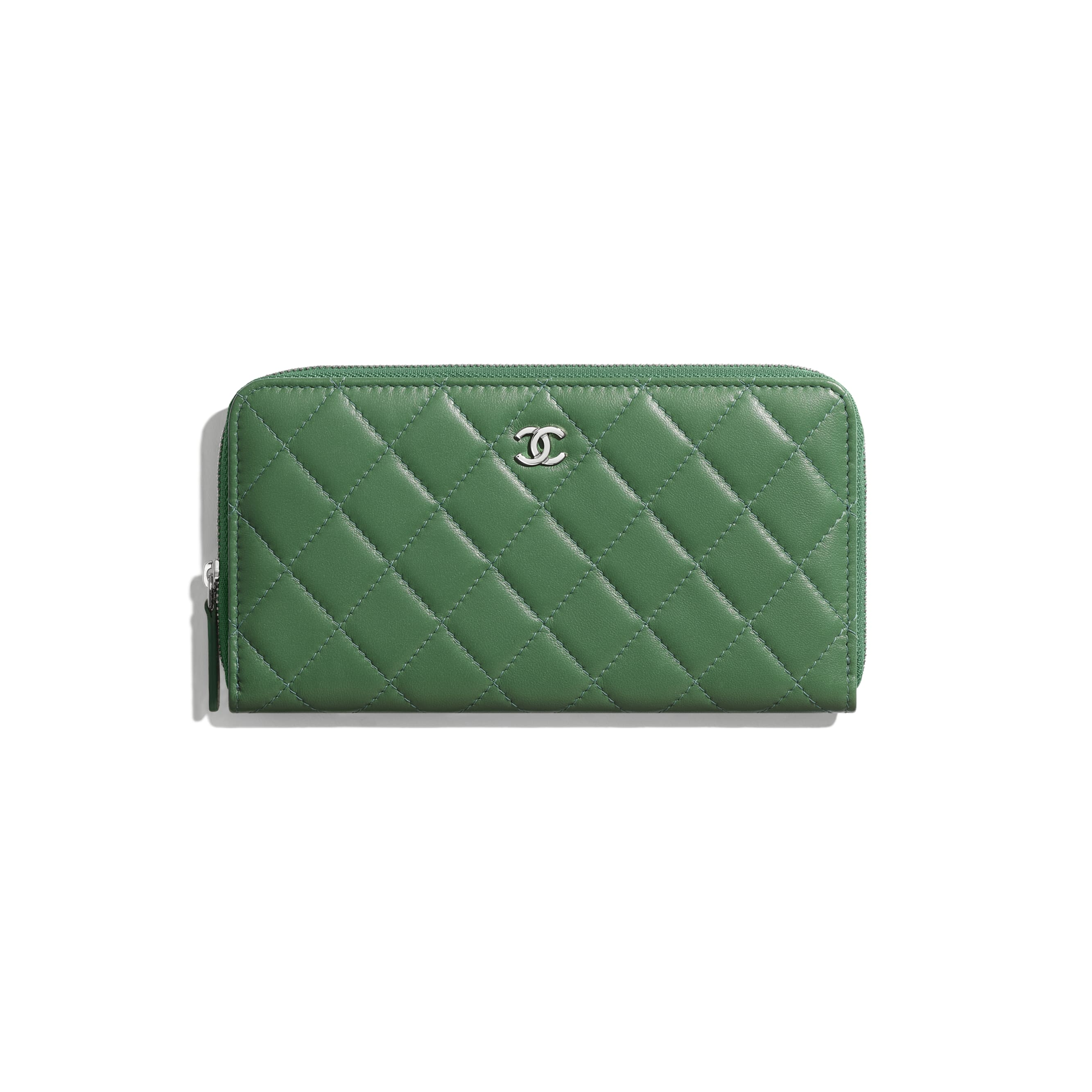 Classic Long Zipped Wallet - Green - Lambskin - Default view - see standard sized version