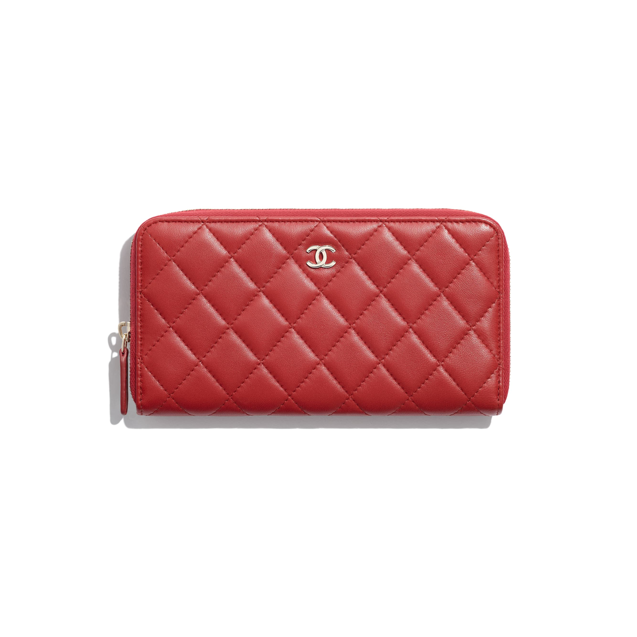 Classic Long Zipped Wallet - Red - Lambskin - CHANEL - Default view - see standard sized version