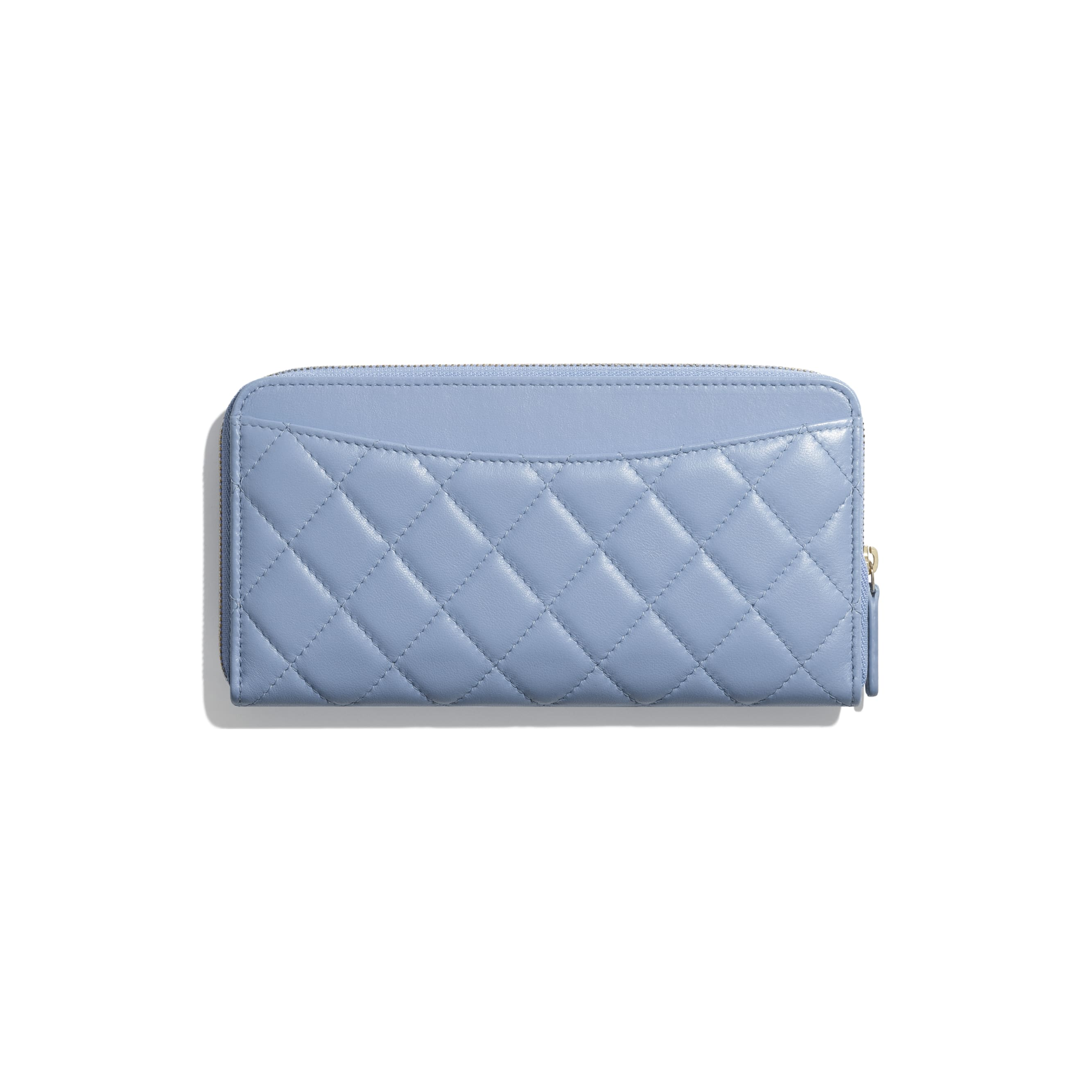 Classic Long Zipped Wallet - Sky Blue - Lambskin - CHANEL - Alternative view - see standard sized version