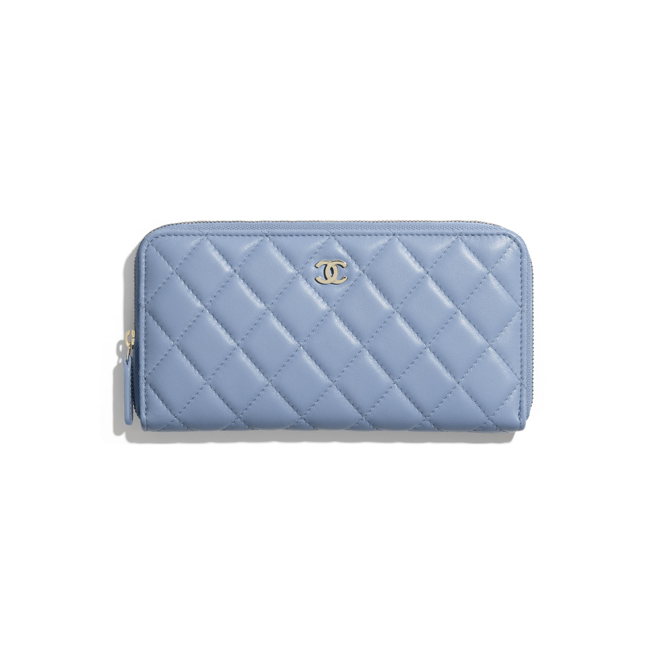 Classic Long Zipped Wallet - Sky Blue - Lambskin - CHANEL - Default view - see standard sized version