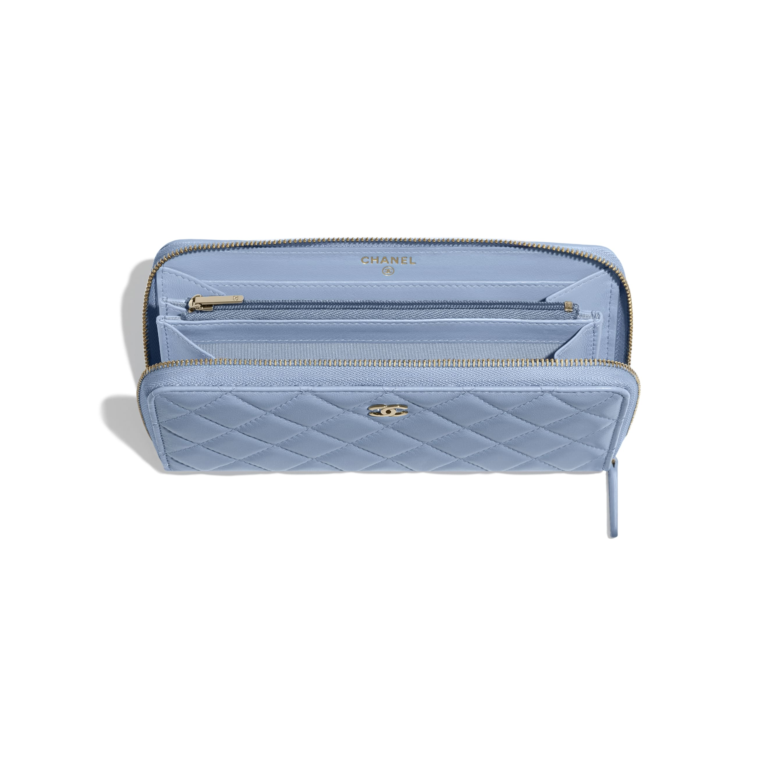 Classic Long Zipped Wallet - Sky Blue - Lambskin - CHANEL - Other view - see standard sized version