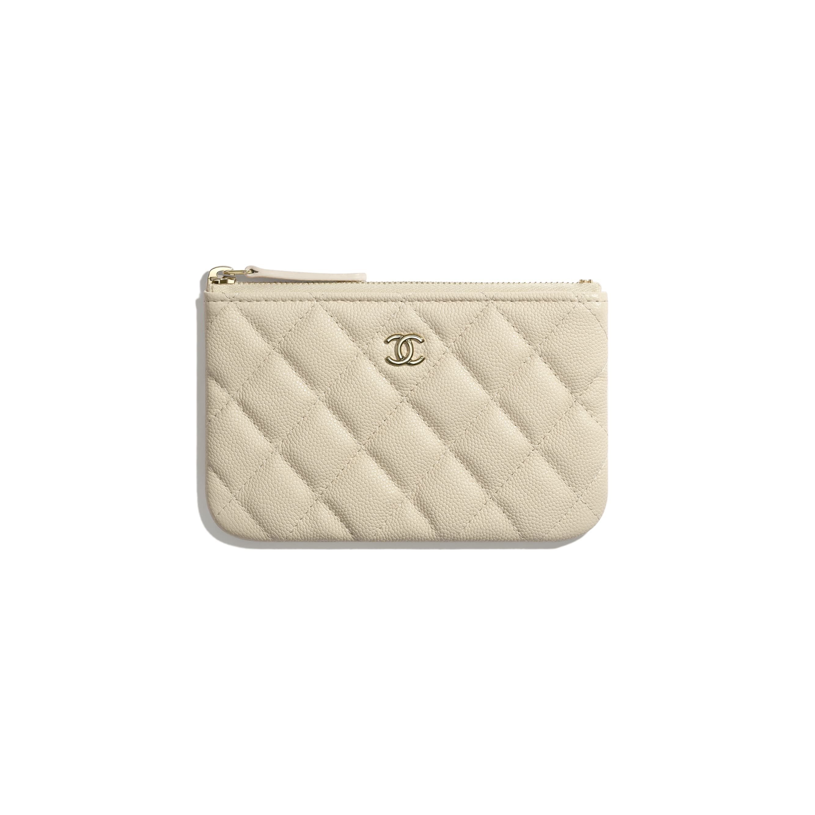Classic Mini Pouch - Light Beige - Grained Calfskin & Gold-Tone Metal - CHANEL - Default view - see standard sized version