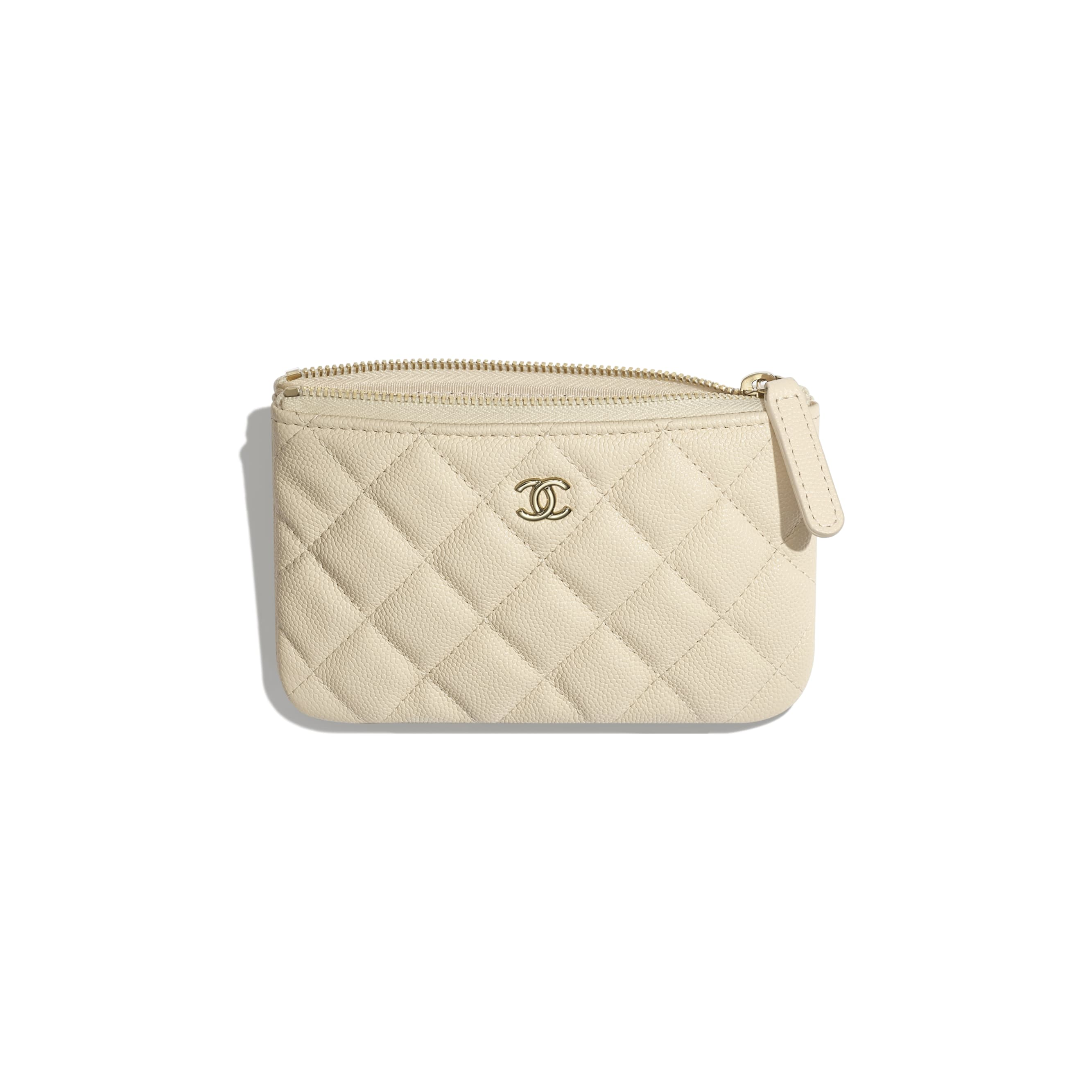 Classic Mini Pouch - Light Beige - Grained Calfskin & Gold-Tone Metal - CHANEL - Other view - see standard sized version