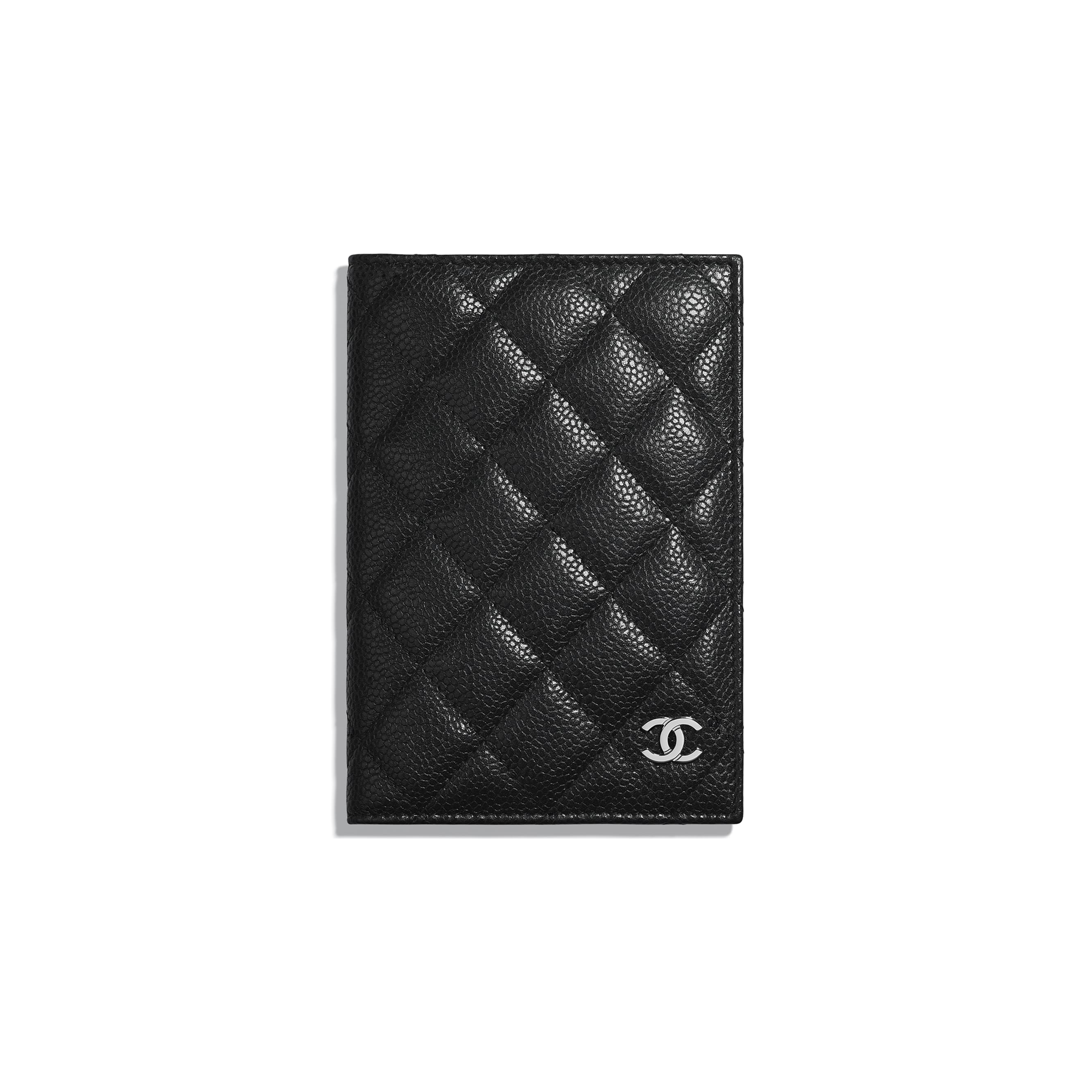 Classic Passport Holder - Black - Grained Calfskin & Silver Metal - Default view - see standard sized version