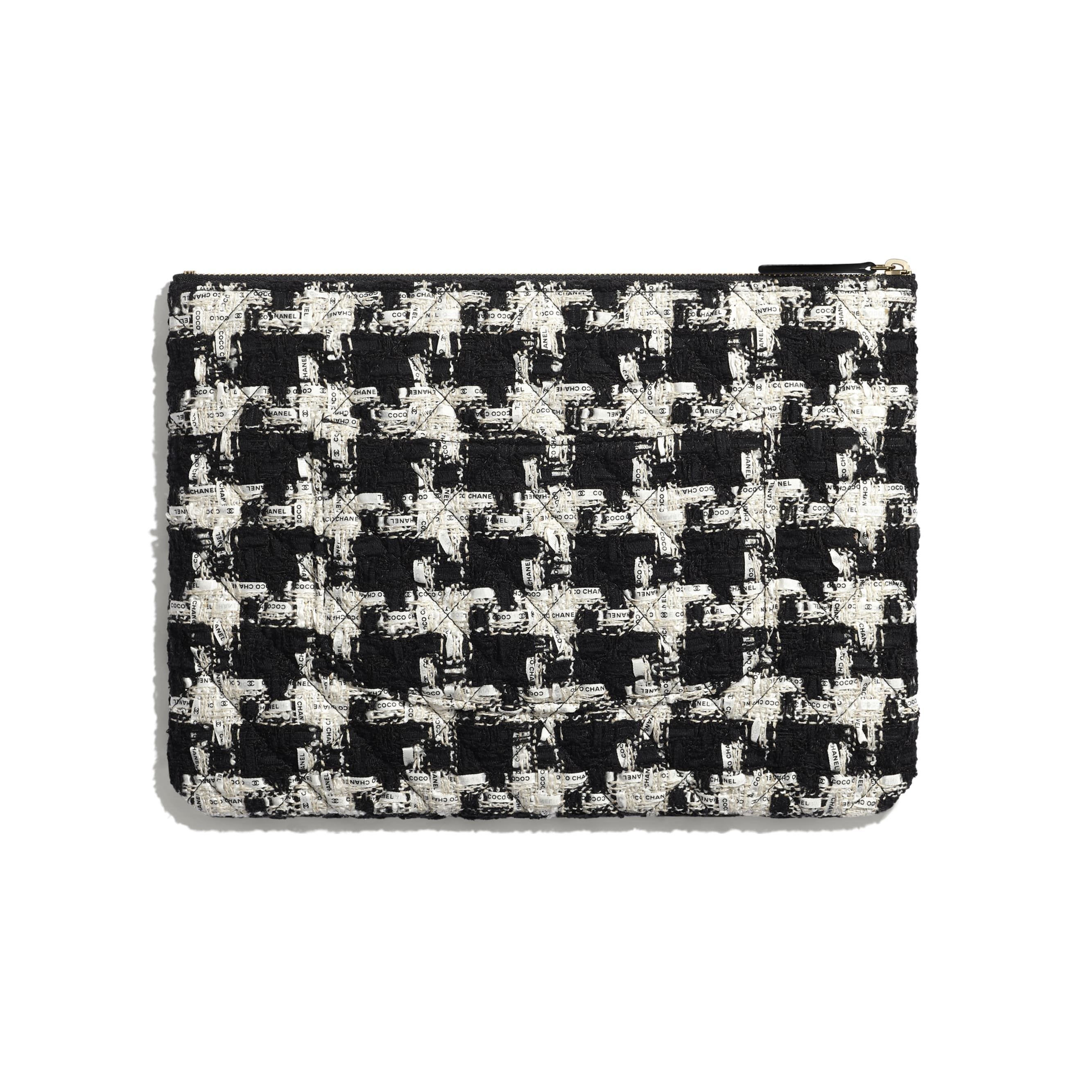 Classic Pouch - Black, Ecru & White - Tweed & Gold-Tone Metal - CHANEL - Alternative view - see standard sized version