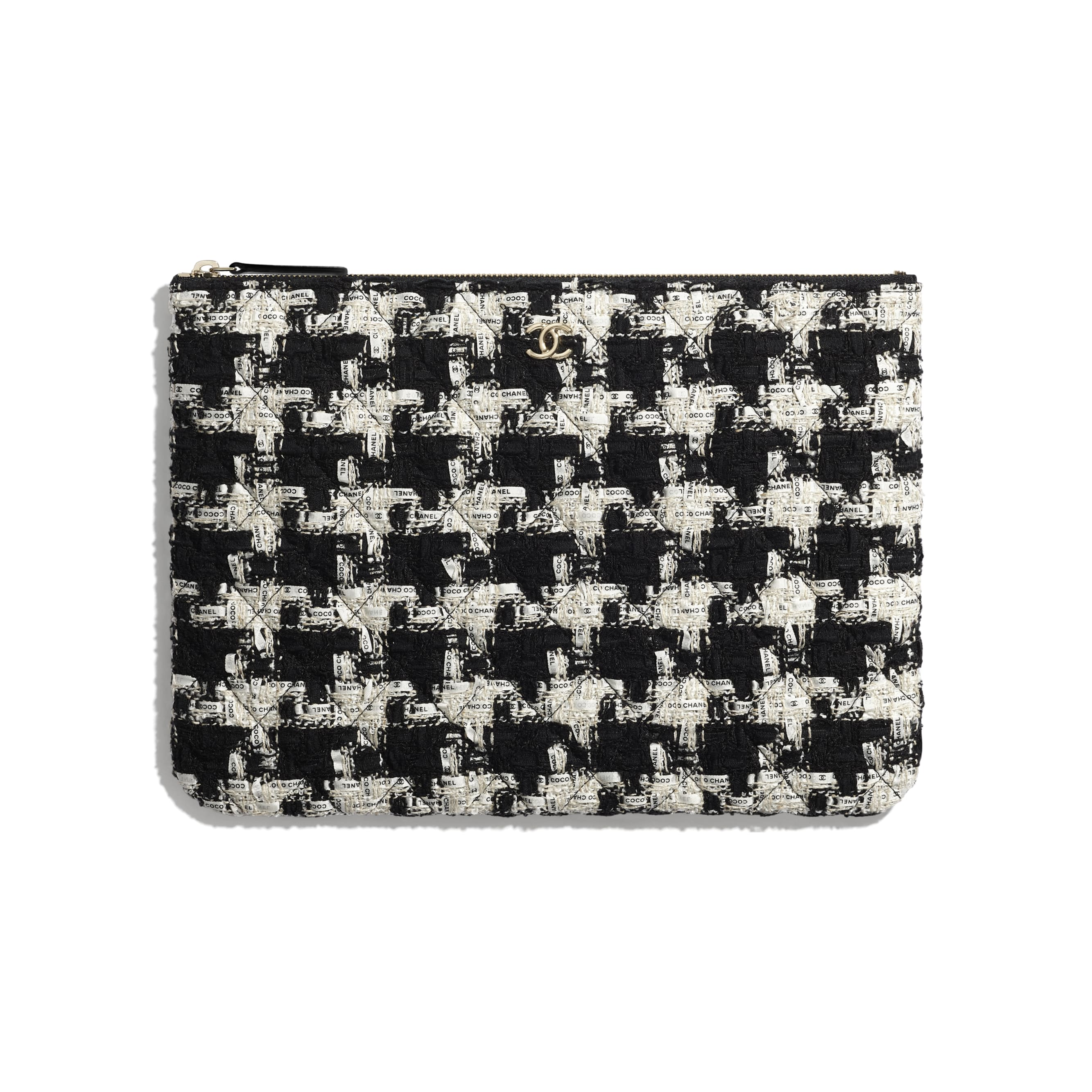 Classic Pouch - Black, Ecru & White - Tweed & Gold-Tone Metal - CHANEL - Default view - see standard sized version