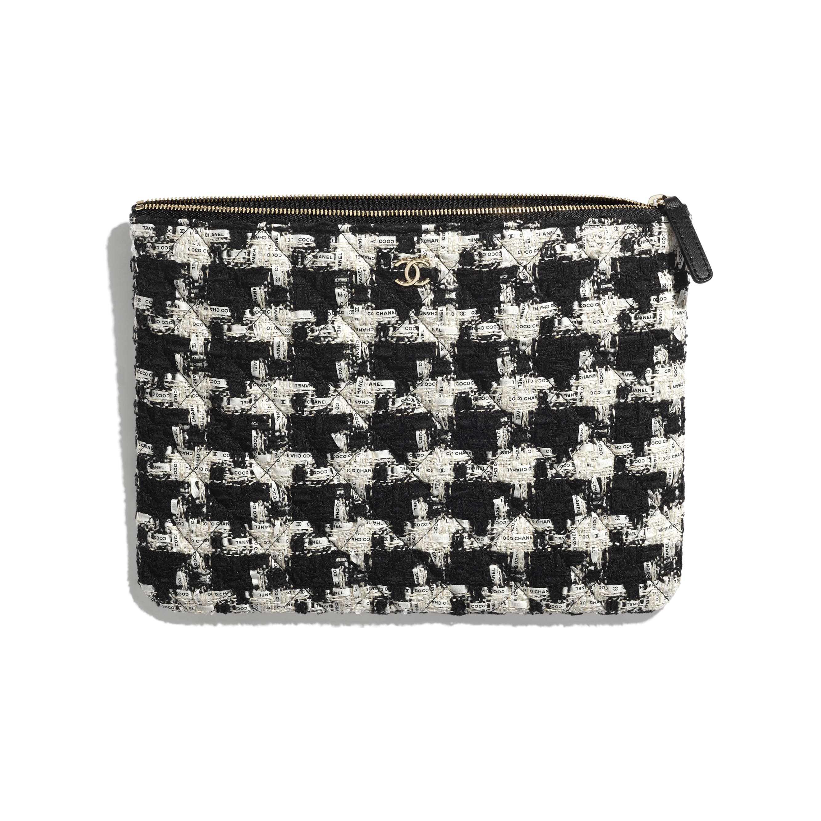 Classic Pouch - Black, Ecru & White - Tweed & Gold-Tone Metal - CHANEL - Other view - see standard sized version