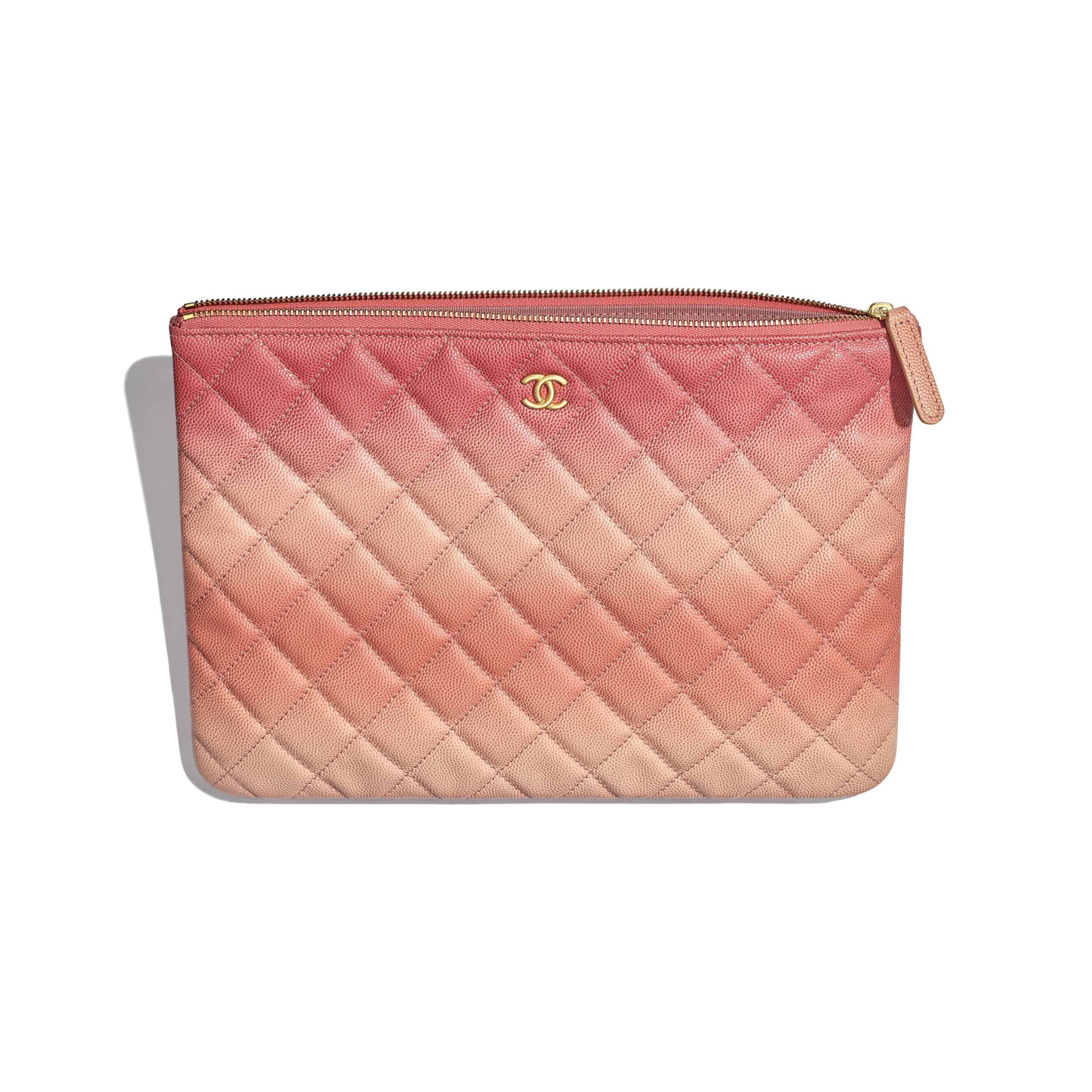 80aefaee4599 ... Classic Pouch - Coral - Grained Calfskin   Gold-Tone Metal - Other view  -