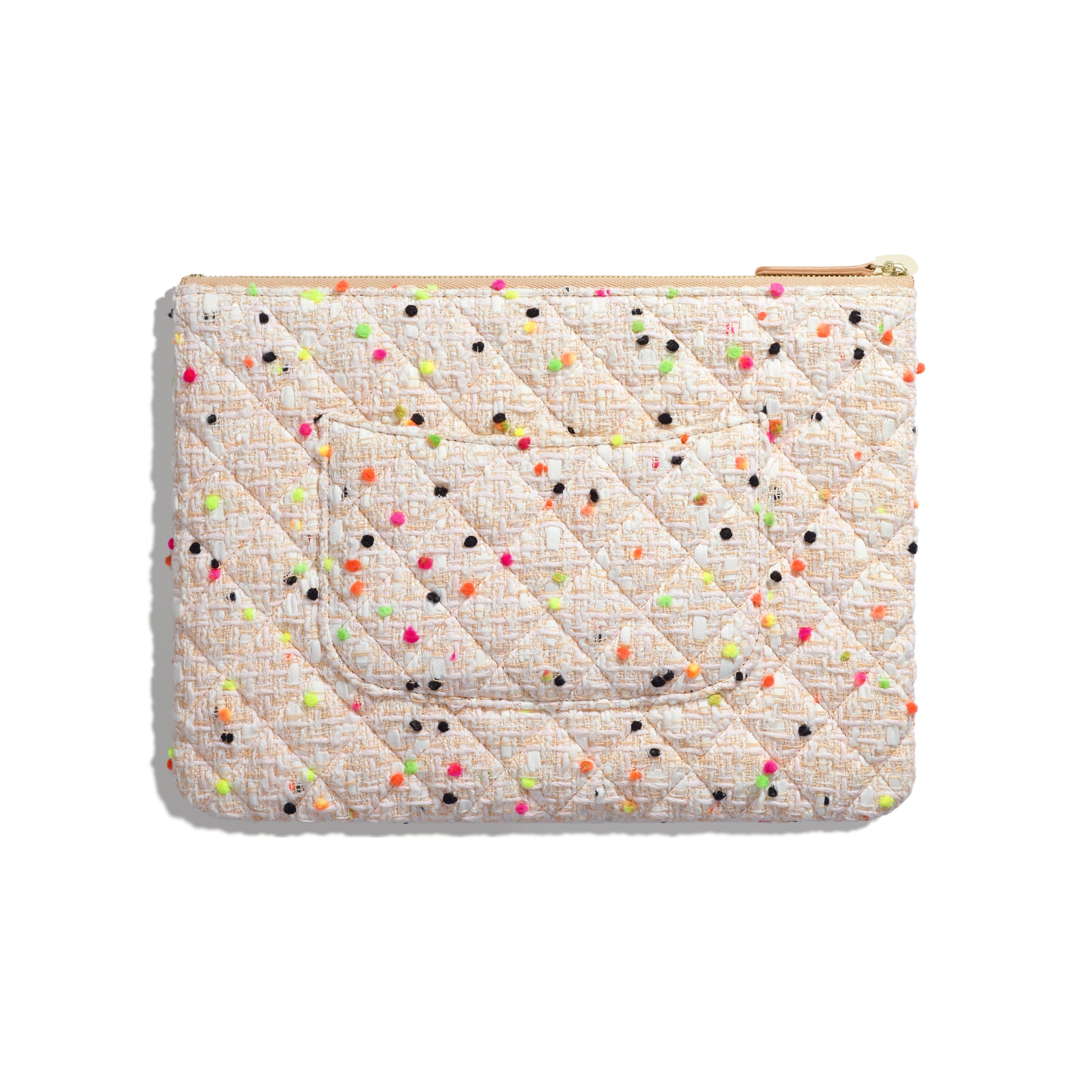 Classic Pouch - Coral & White - Cotton Tweed & Gold-Tone Metal - Alternative view - see standard sized version